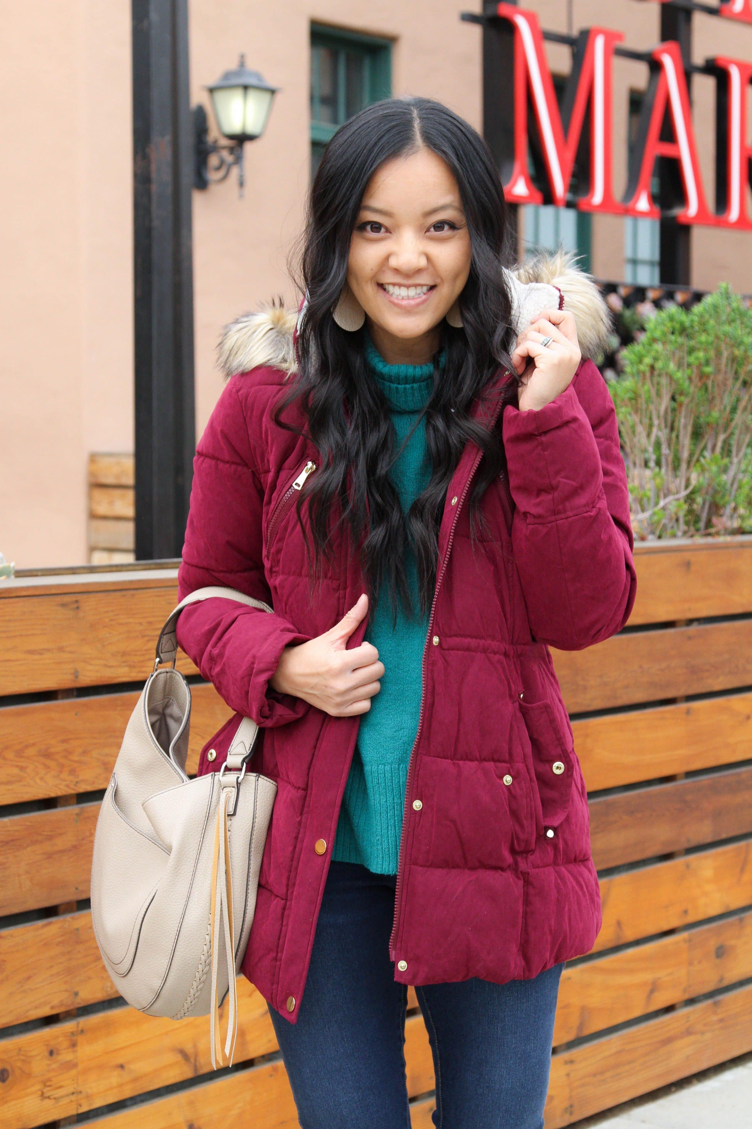 Maroon Puffer + Tan Bag + Skinnies
