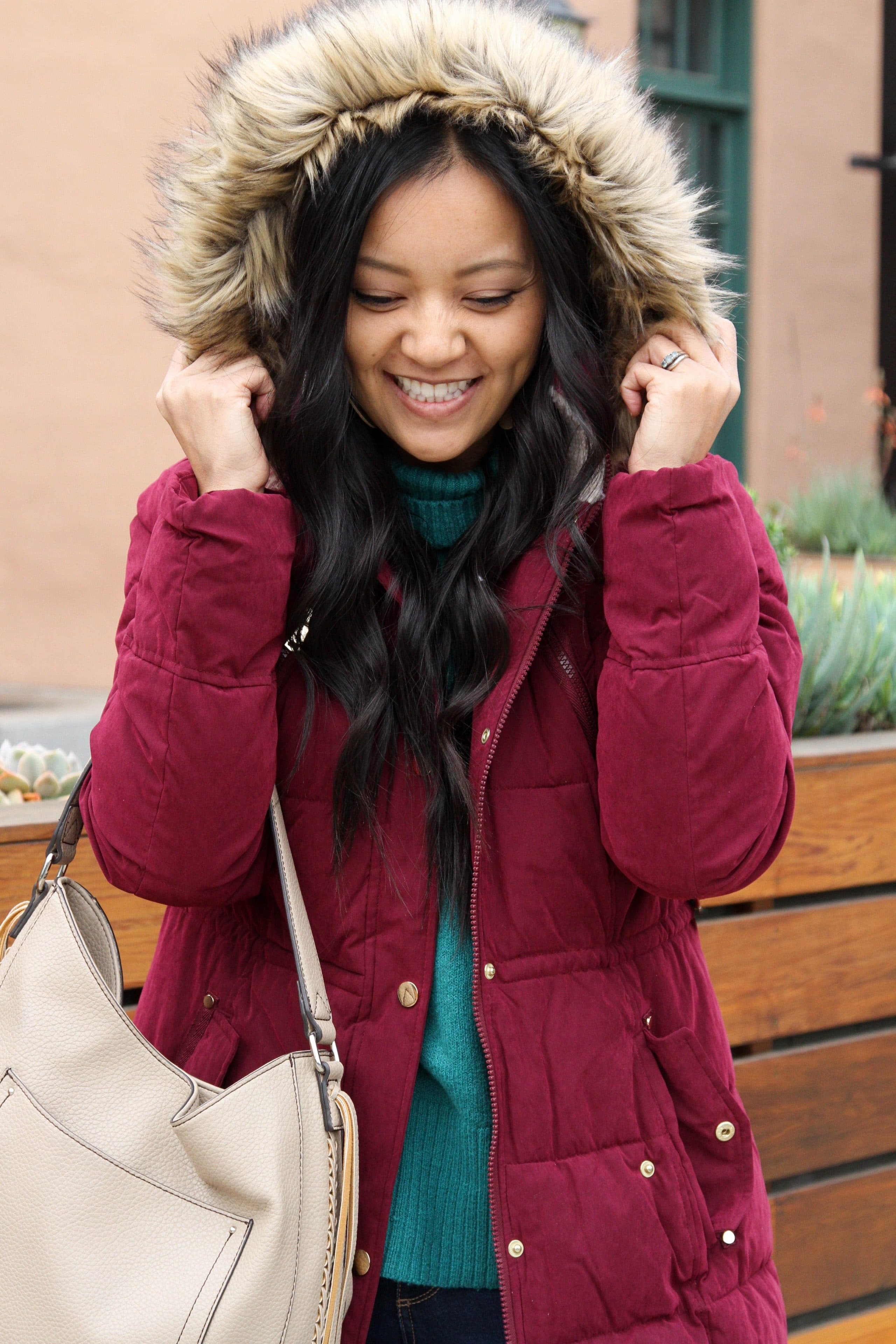 Maroon Puffer + Tan Bag + Green Sweater
