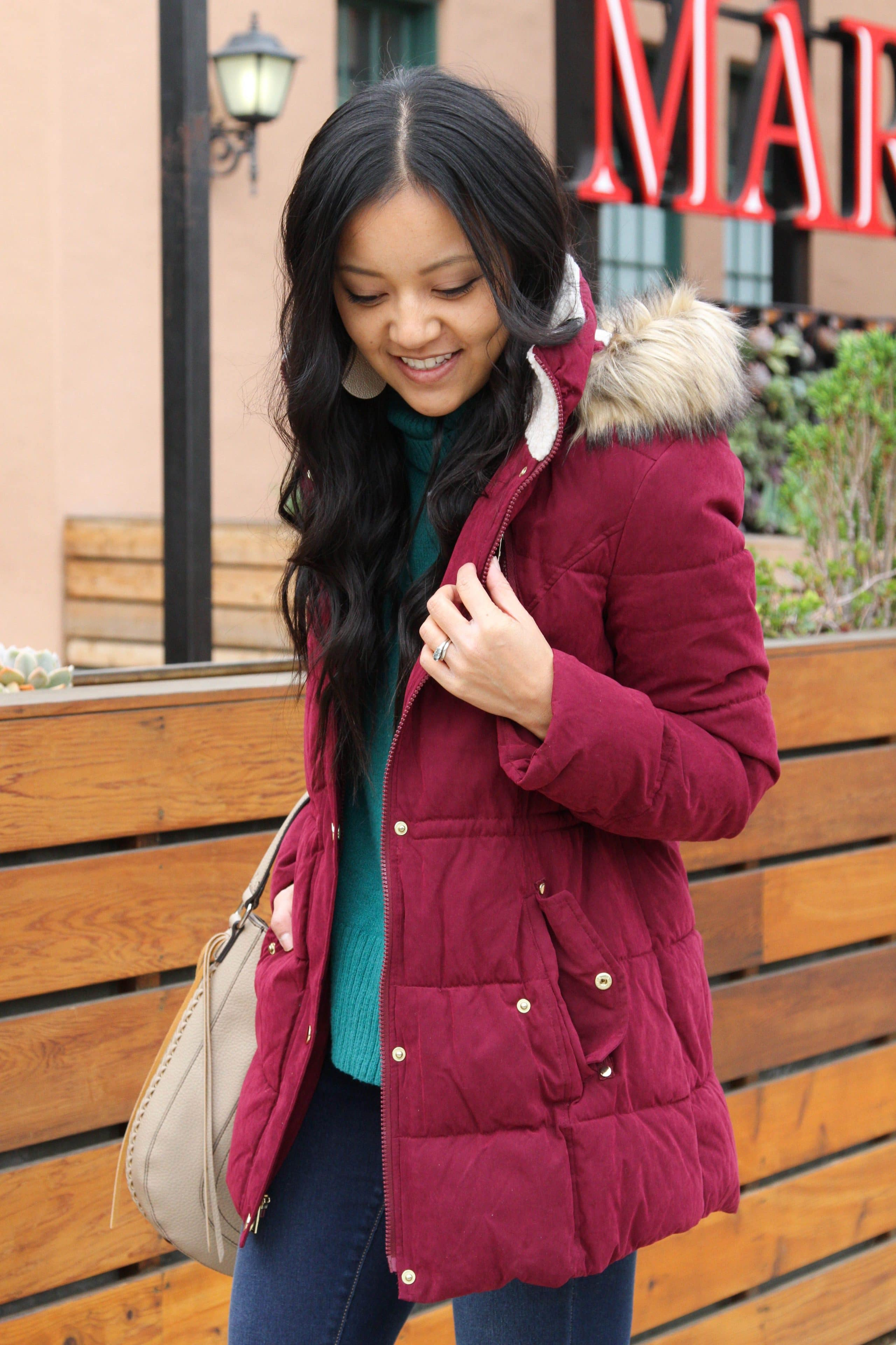 Maroon puffer + Green Sweater