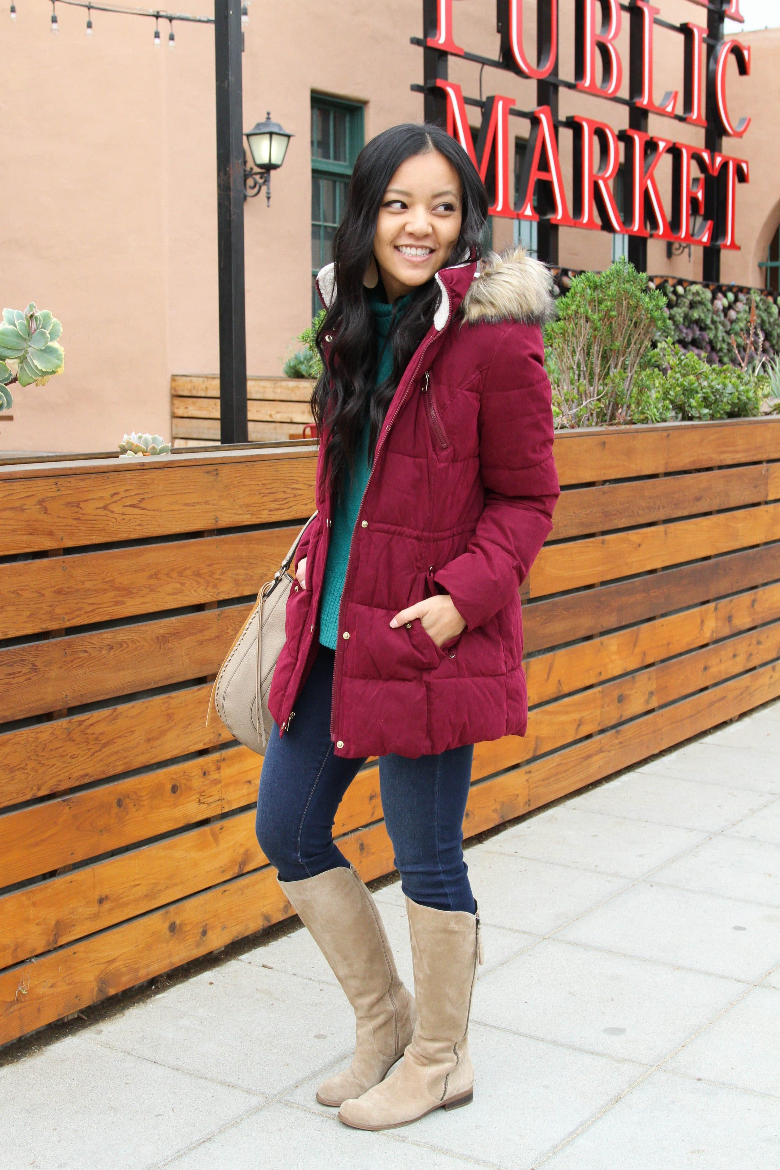 Skinnies + Maroon Puffer + Tan Bag + Taupe Boots