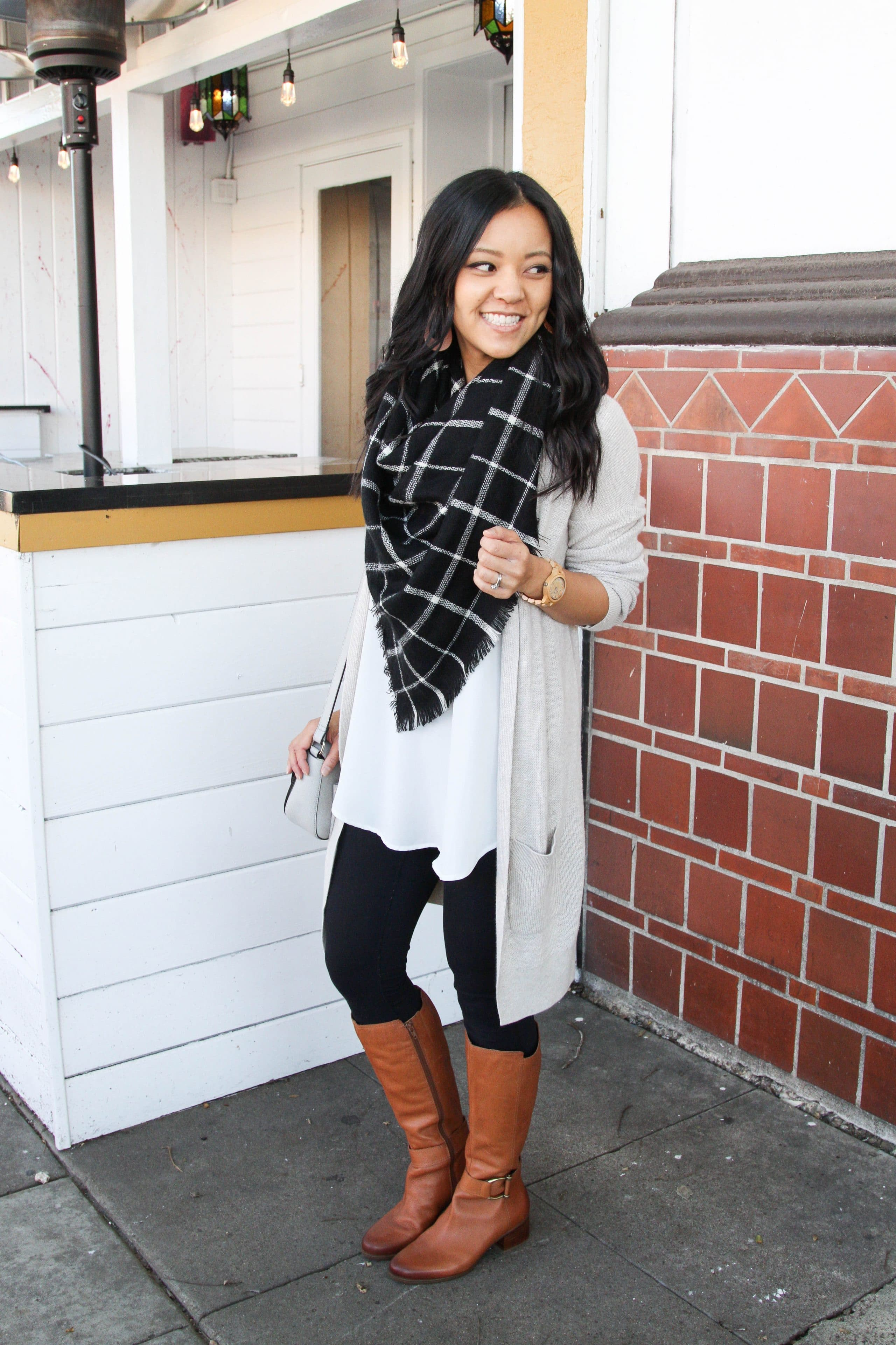 72d61891e7d Long Tunic + Oversized Cardigans + Scarf + Boots First up is a casual look  that s great for hanging out with kids or friends but is a step up from ...