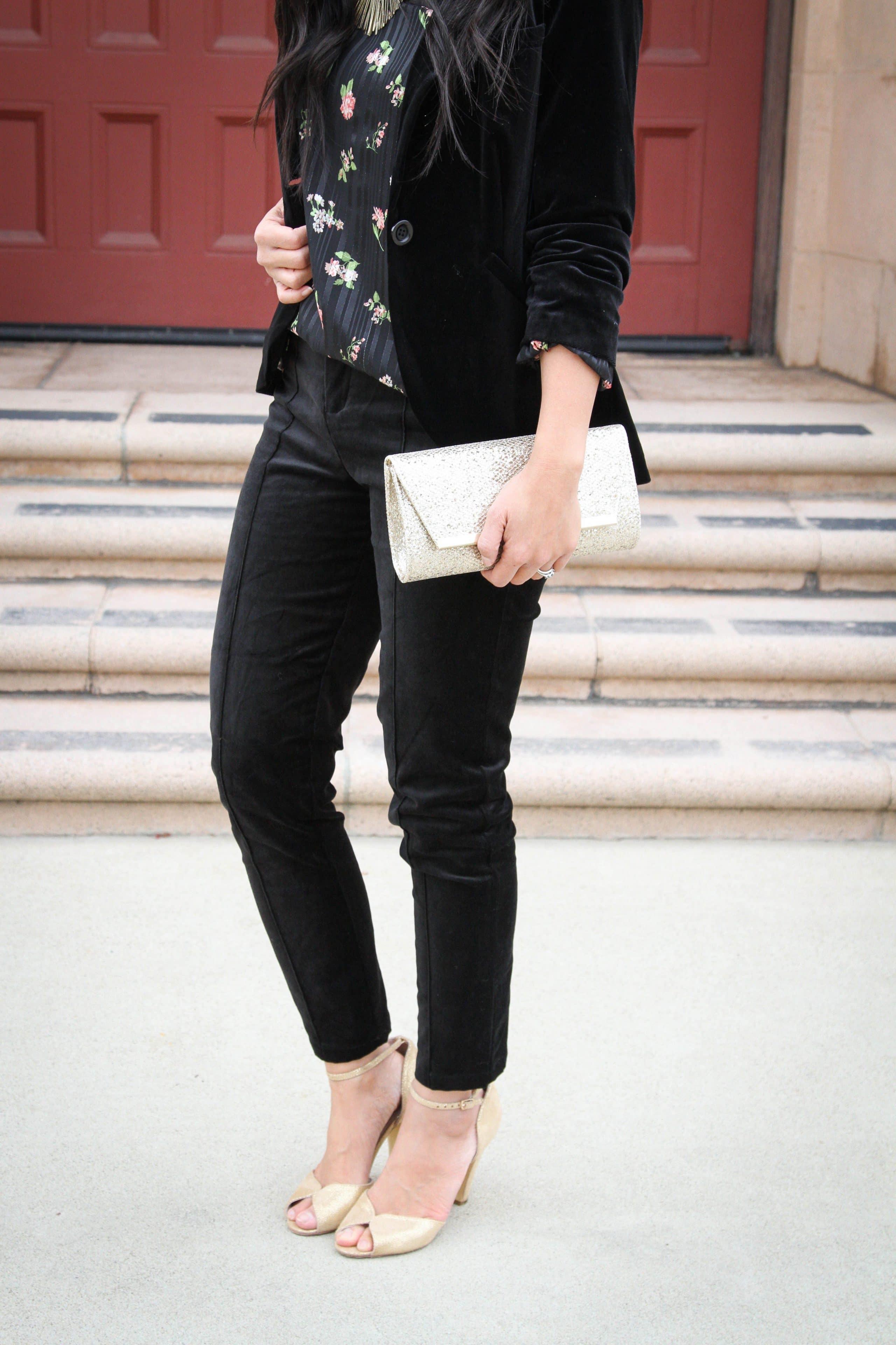 Gold Clutch + Gold Heels + Black velvet pants + Velvet blazer