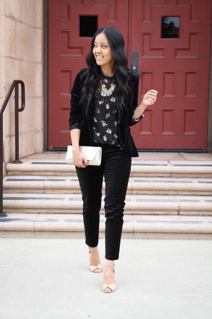 Floral top + Black Blazer + Velvet Pants + Gold Clutch + Statement Necklace