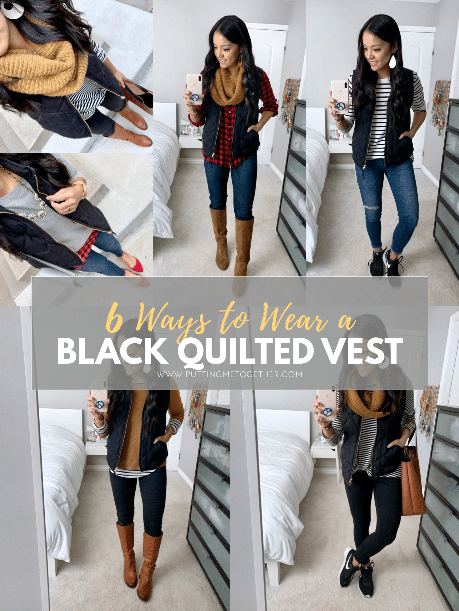 de97894708eb 6 Outfits With a Black Quilted Vest + 6 Quilted Vest Options ...