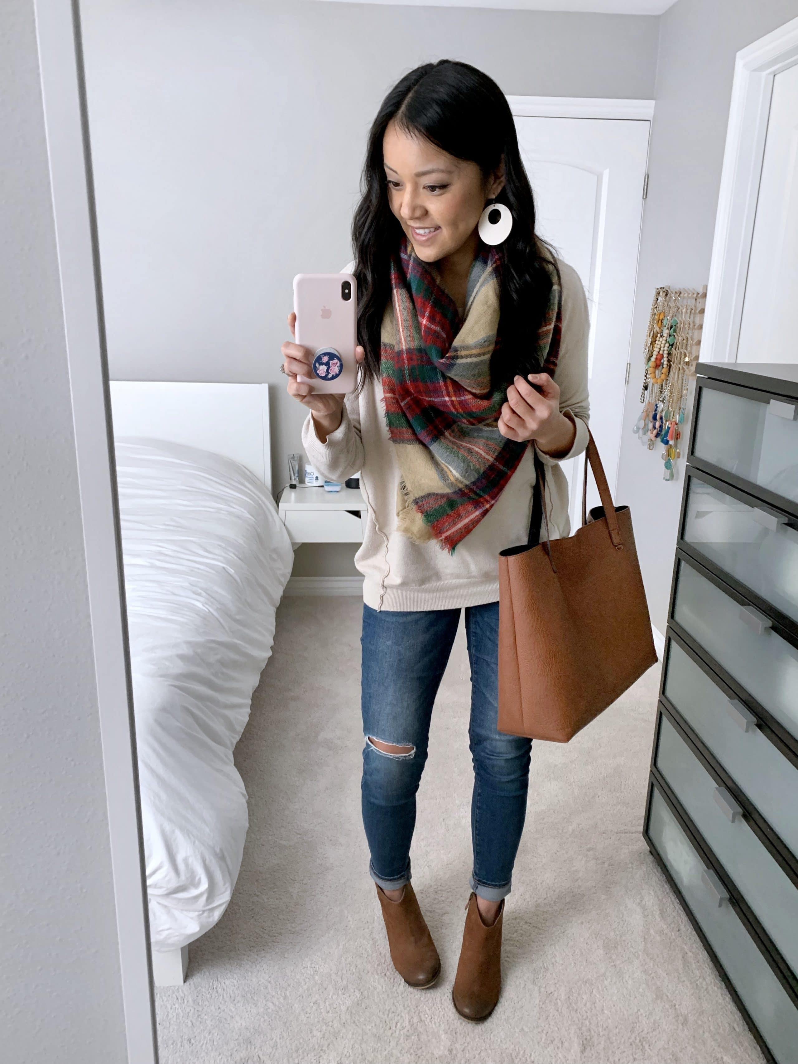 beige oatmeal sweater + distressed jeans + red zara blanket scarf + brown booties