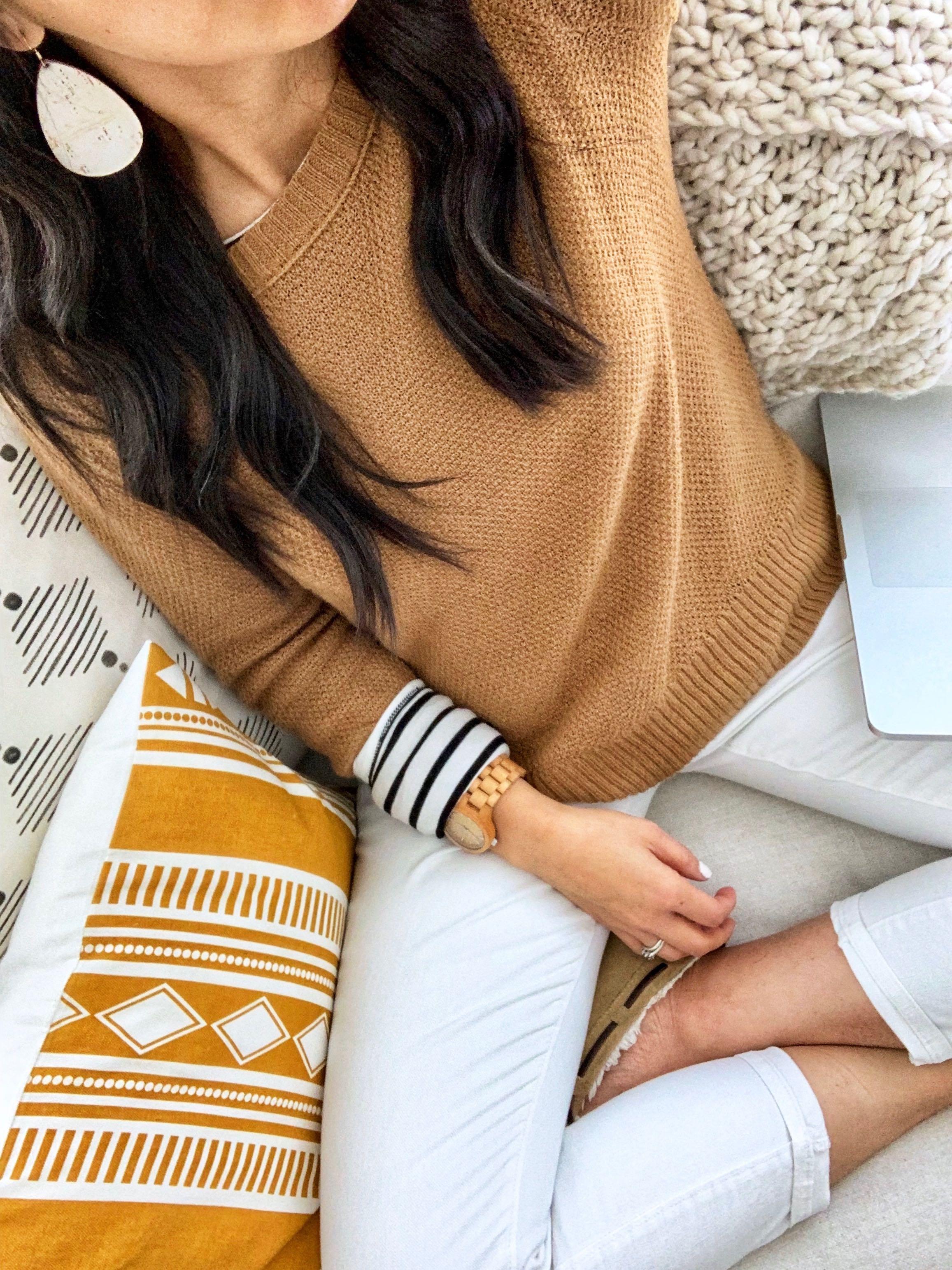 Tan Sweater + Striped Tee + White Jeans + Cork Earrings