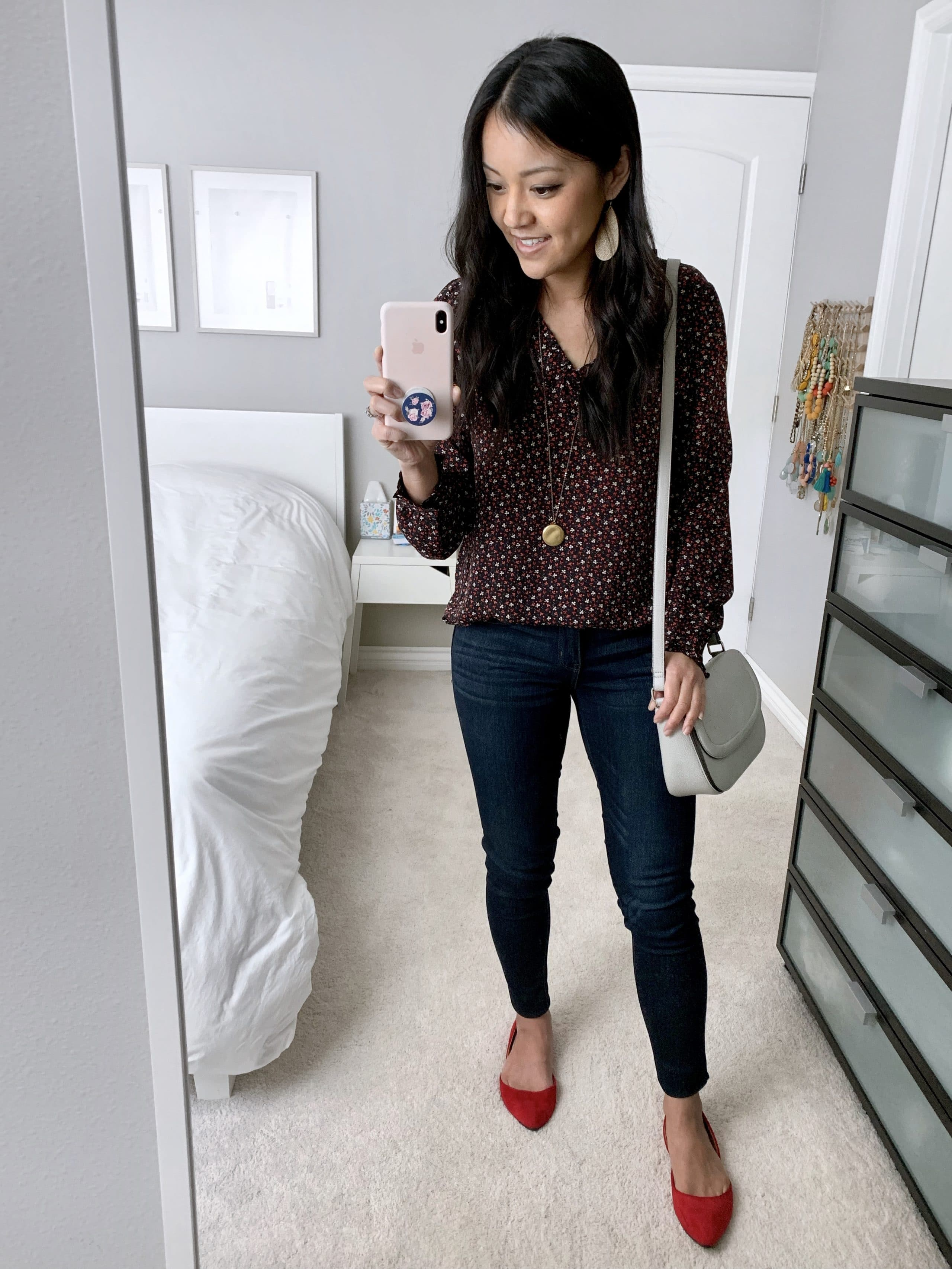 printed blouse + jeans + red flats for polished casual outfit