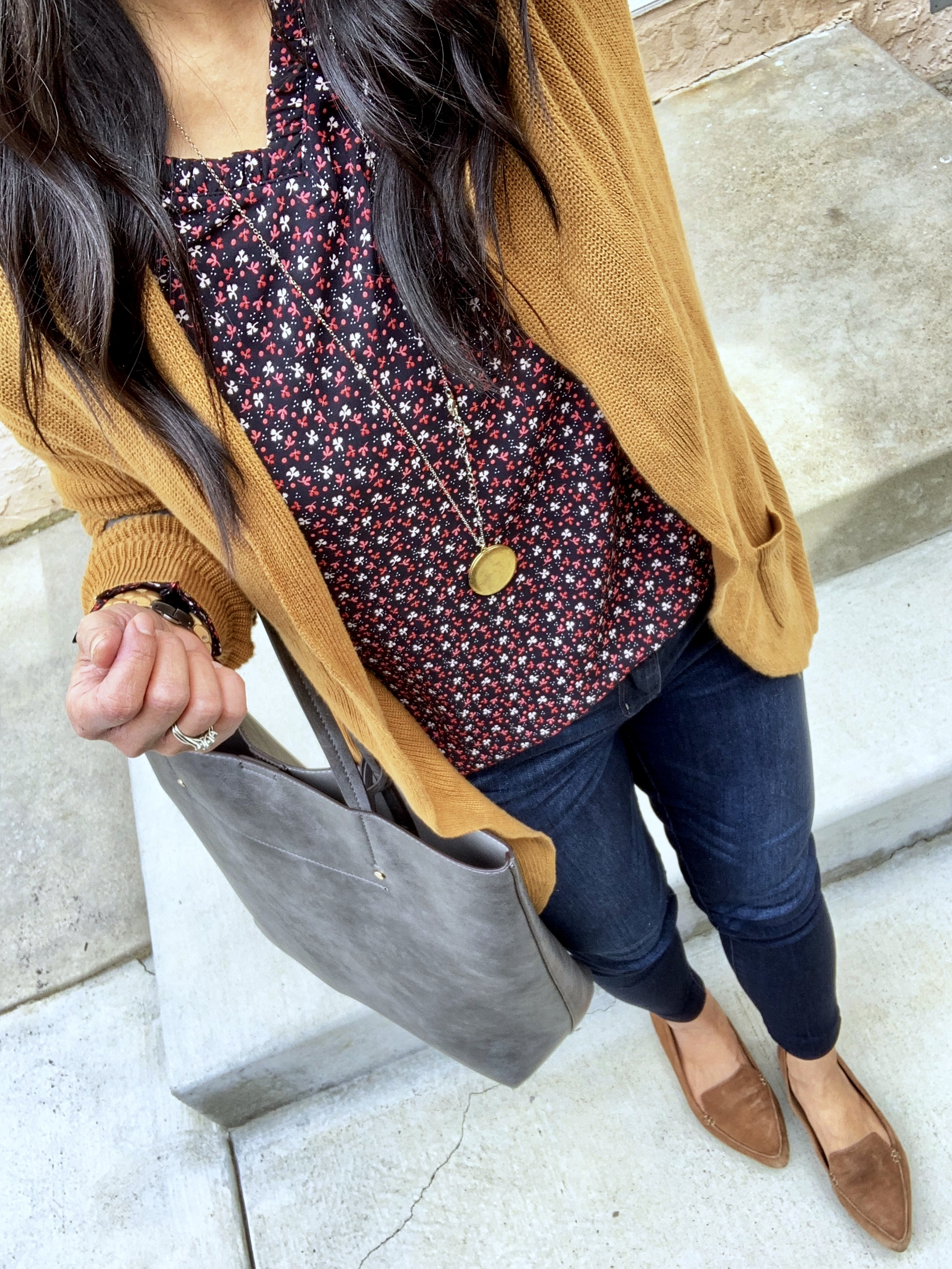 tan cardigan + printed blouse + jeans + loafers