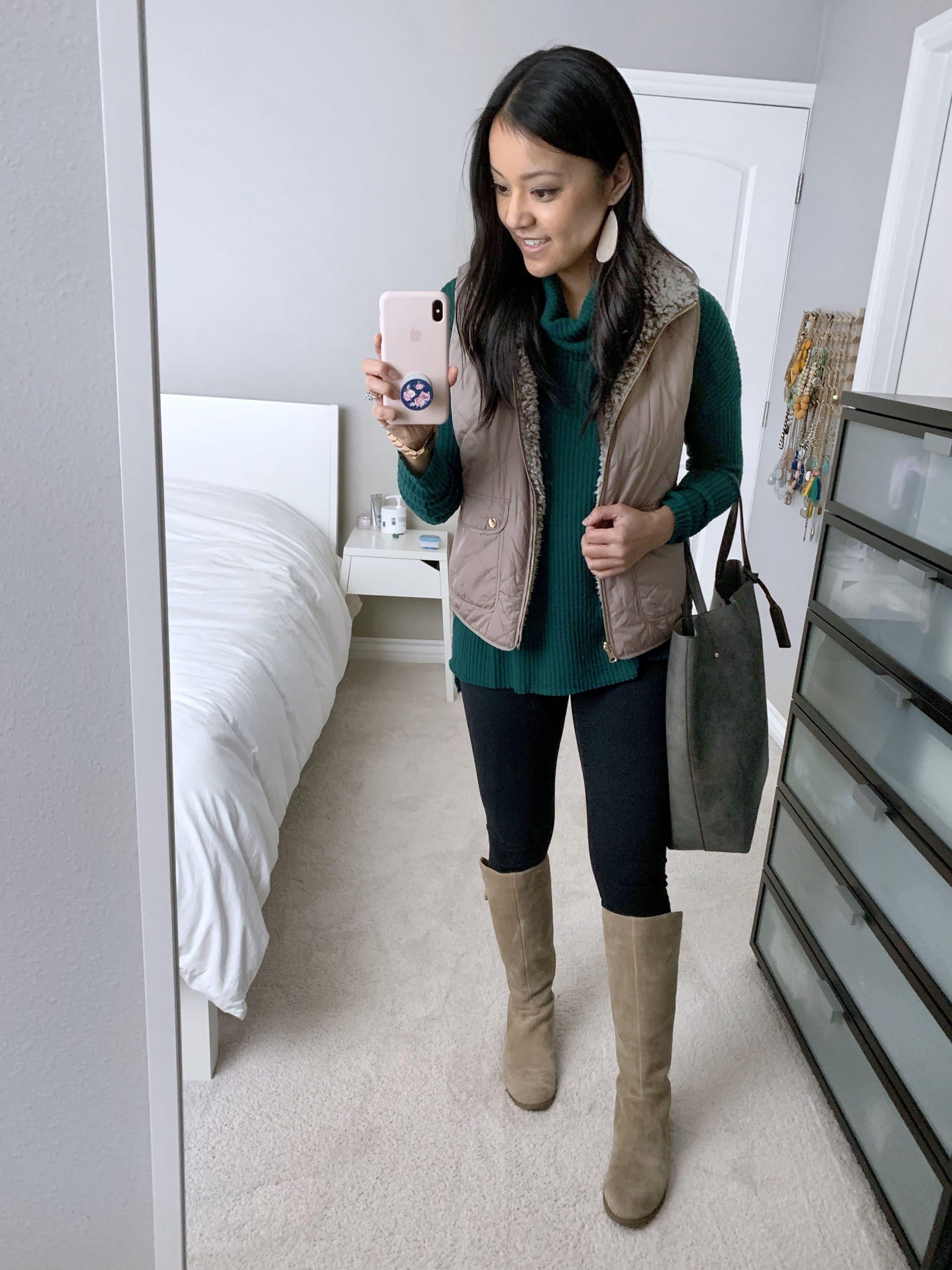 Vest + Green Turtleneck + Boots + leggings + tote
