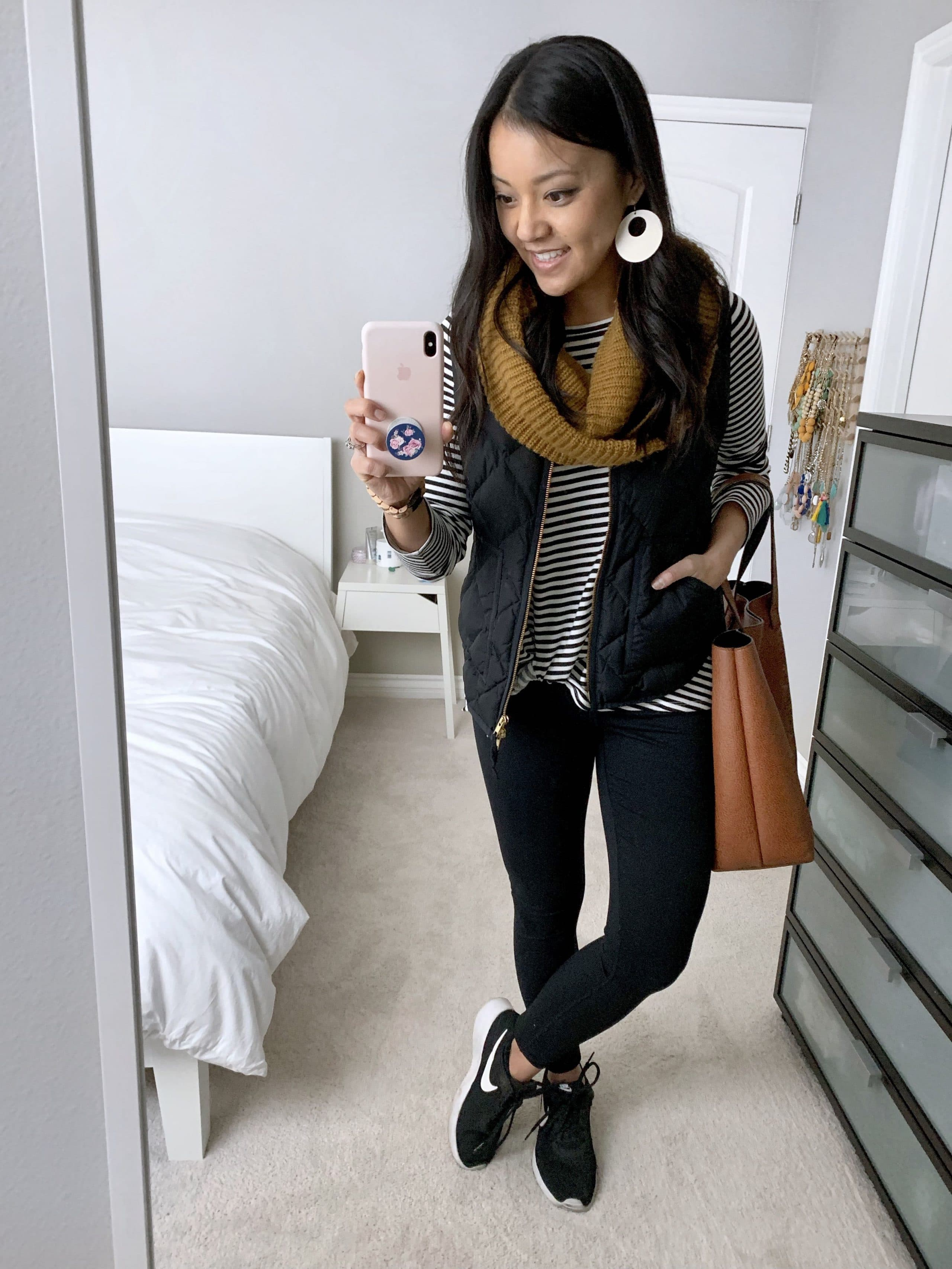 Black and White Top + Vest + Scarf + Leggings + Sneakers + Tote