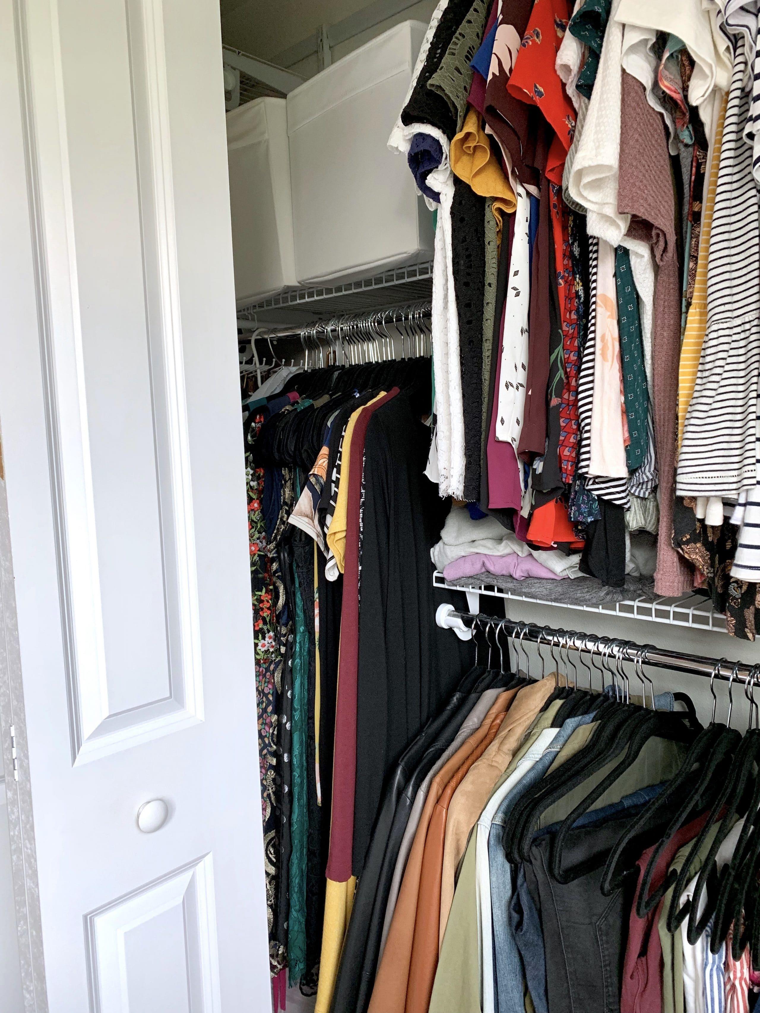 Dress rack inside closet organization