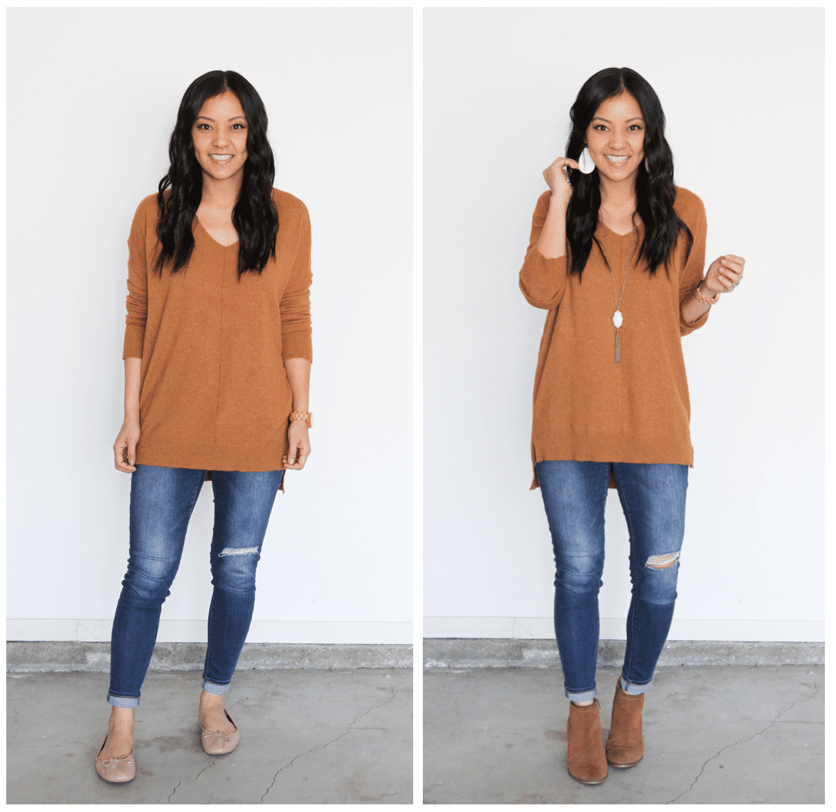 Plain to Polished Outfit: Camel Pullover and Distressed Jeans