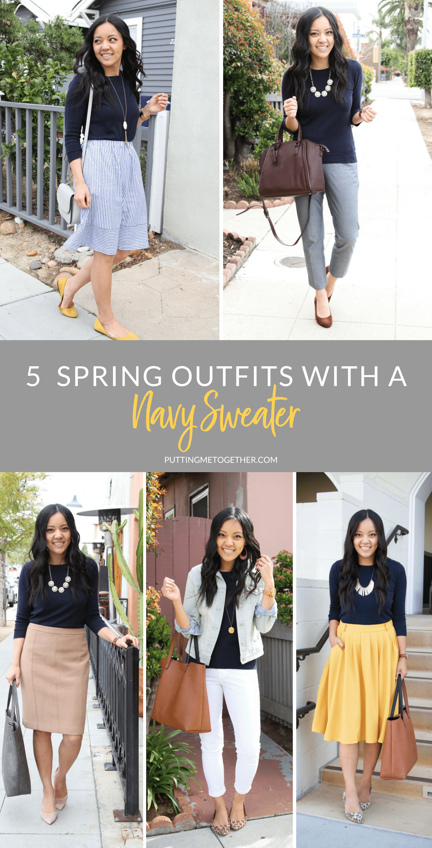 5 Spring Outfits With a Navy Sweater