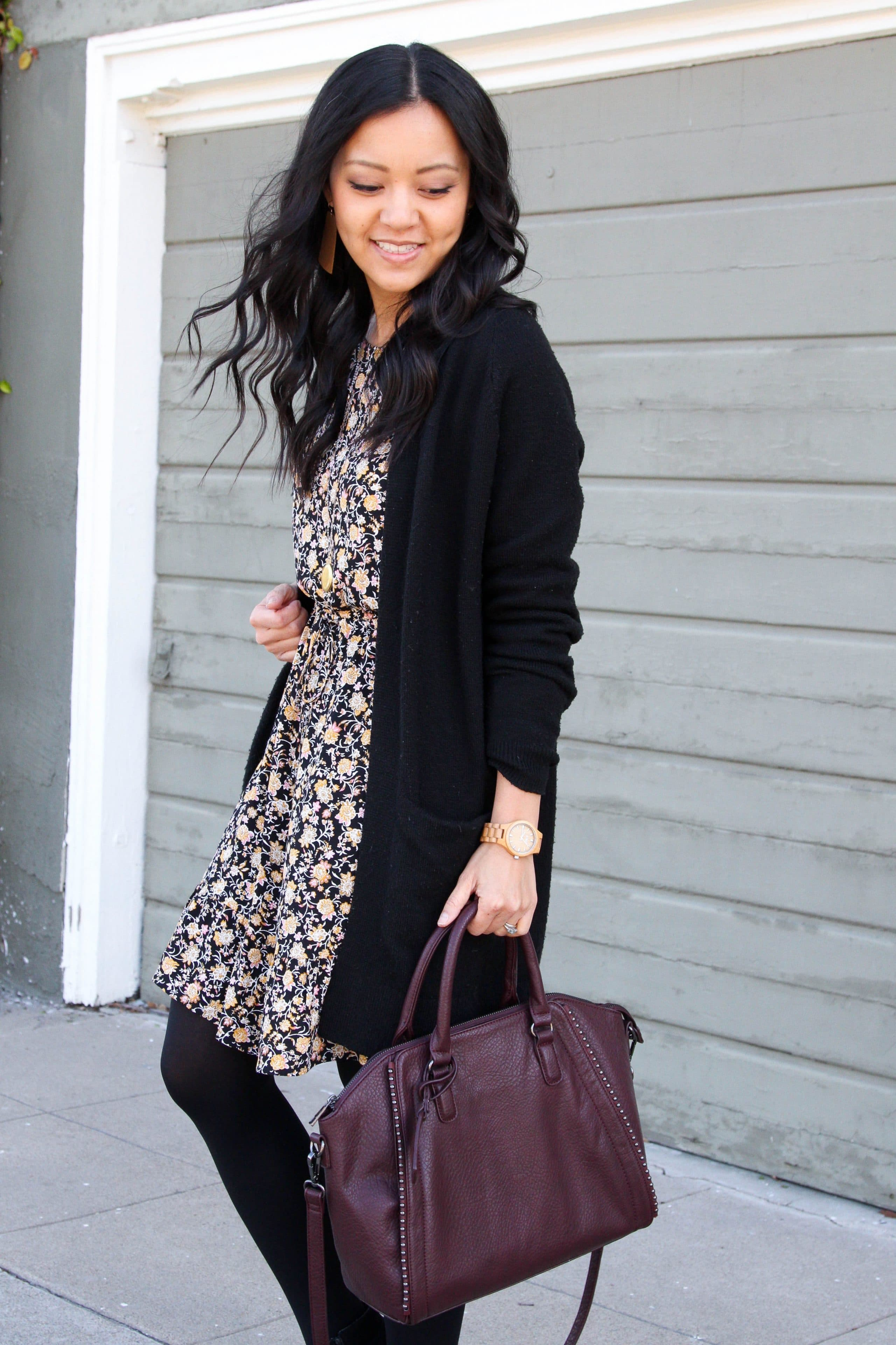 Black Cardigan + Maroon Bag + Black Tights + Black Floral Dress