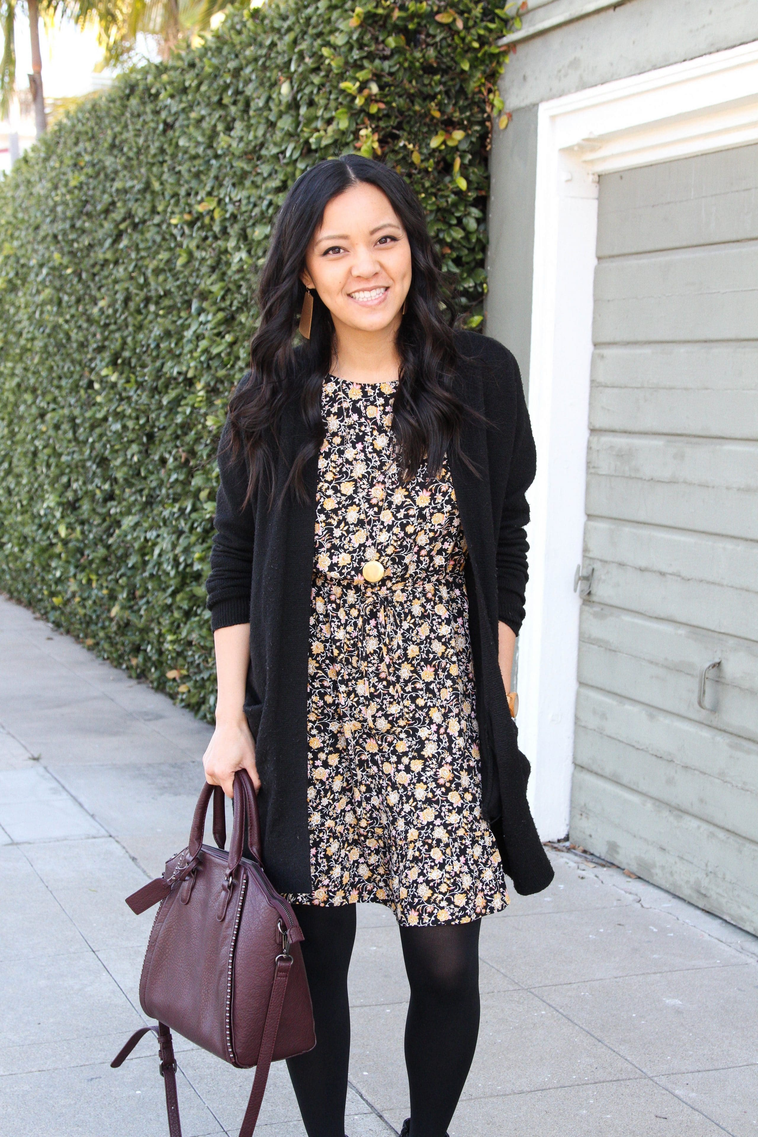 Back Cardigan + Booties + Maroon Bag + Black Floral Dress + Tights