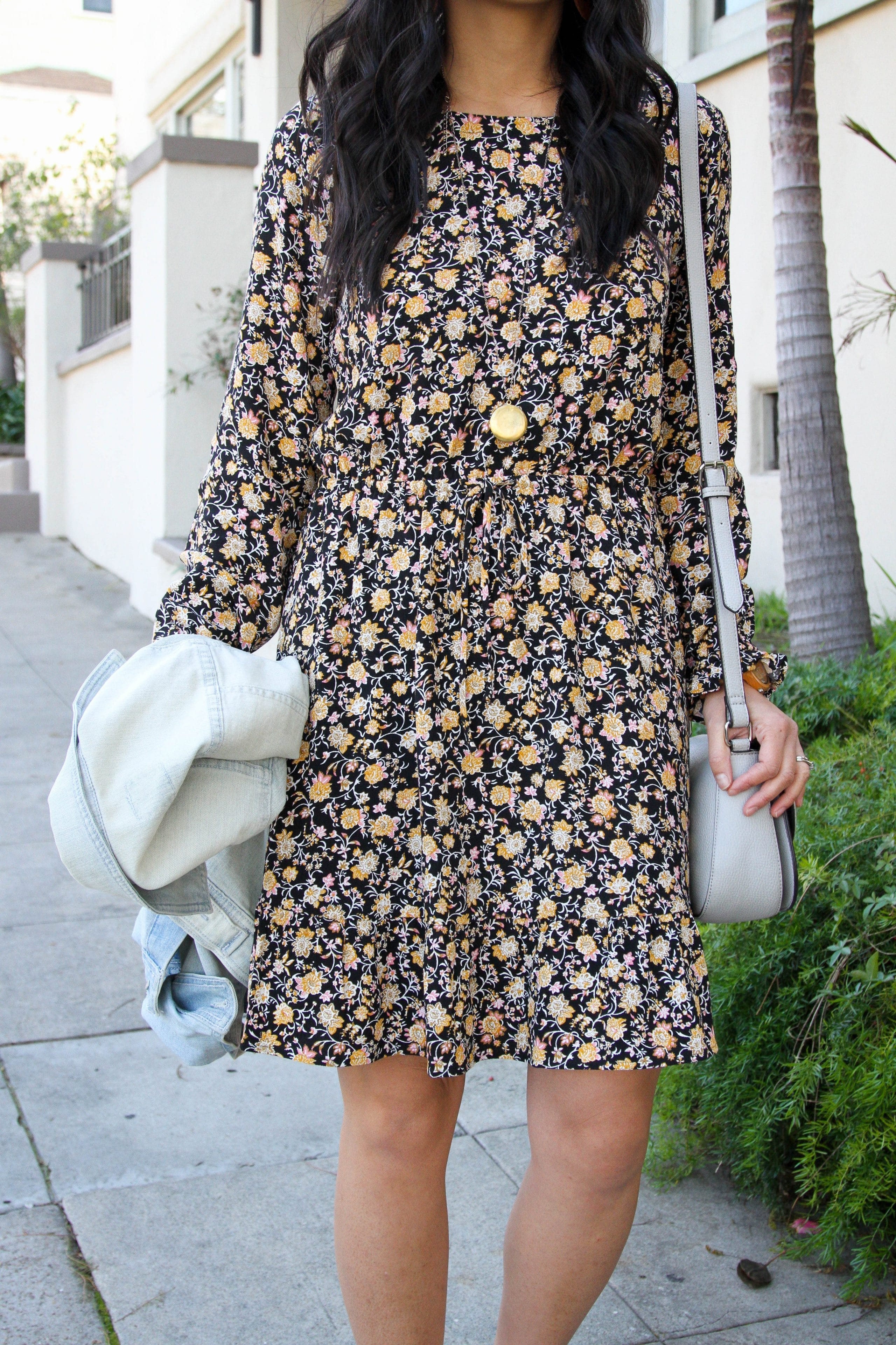 Statement Necklace + Black Floral Dress + Grey Crossbody Purse