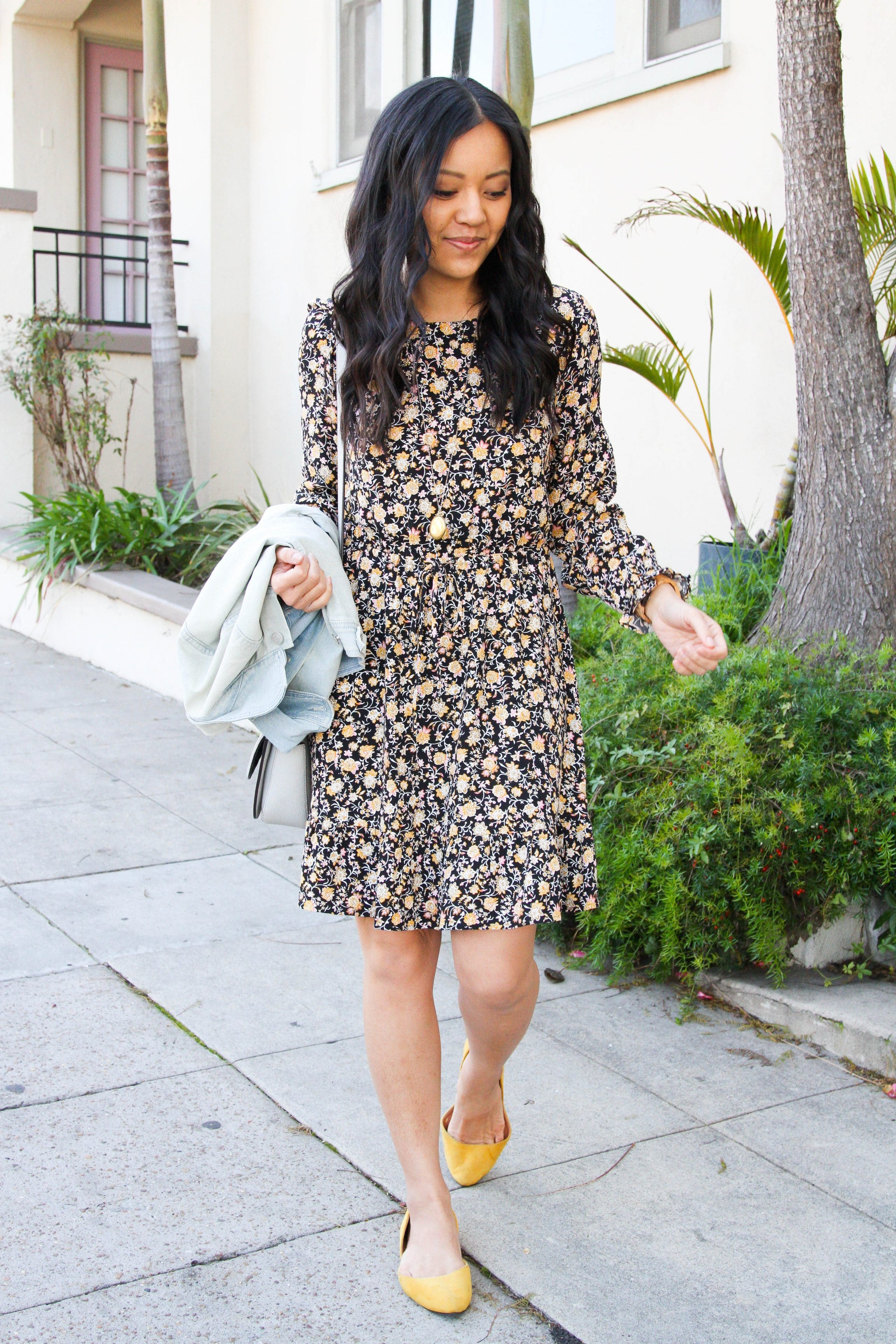 Black Floral Dress + Yellow Flats