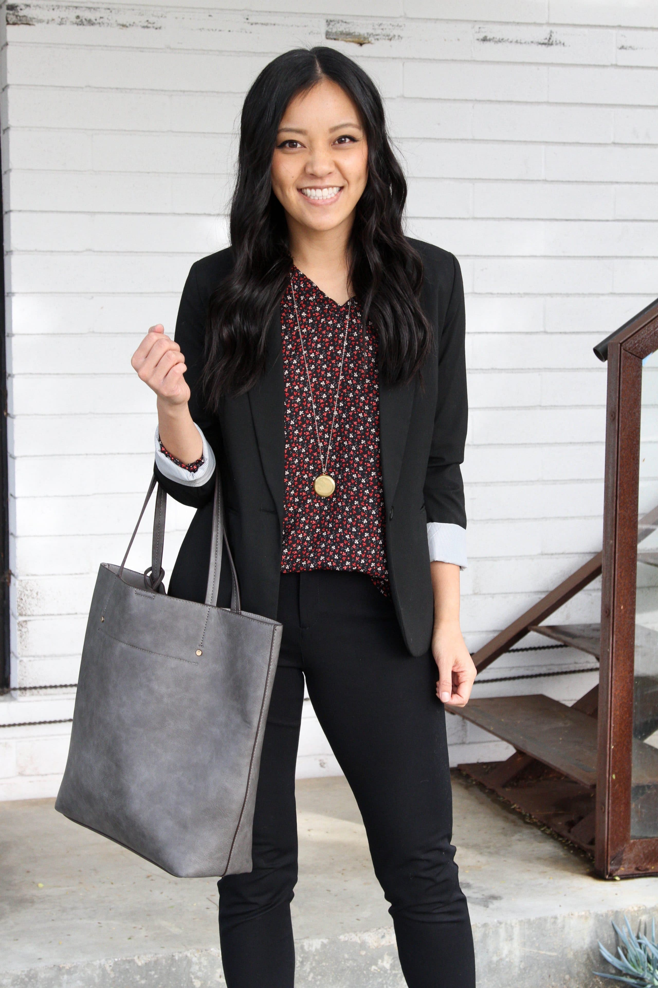 business casual outfit + Blazer + Tote + Black pants + Blouse + pendant
