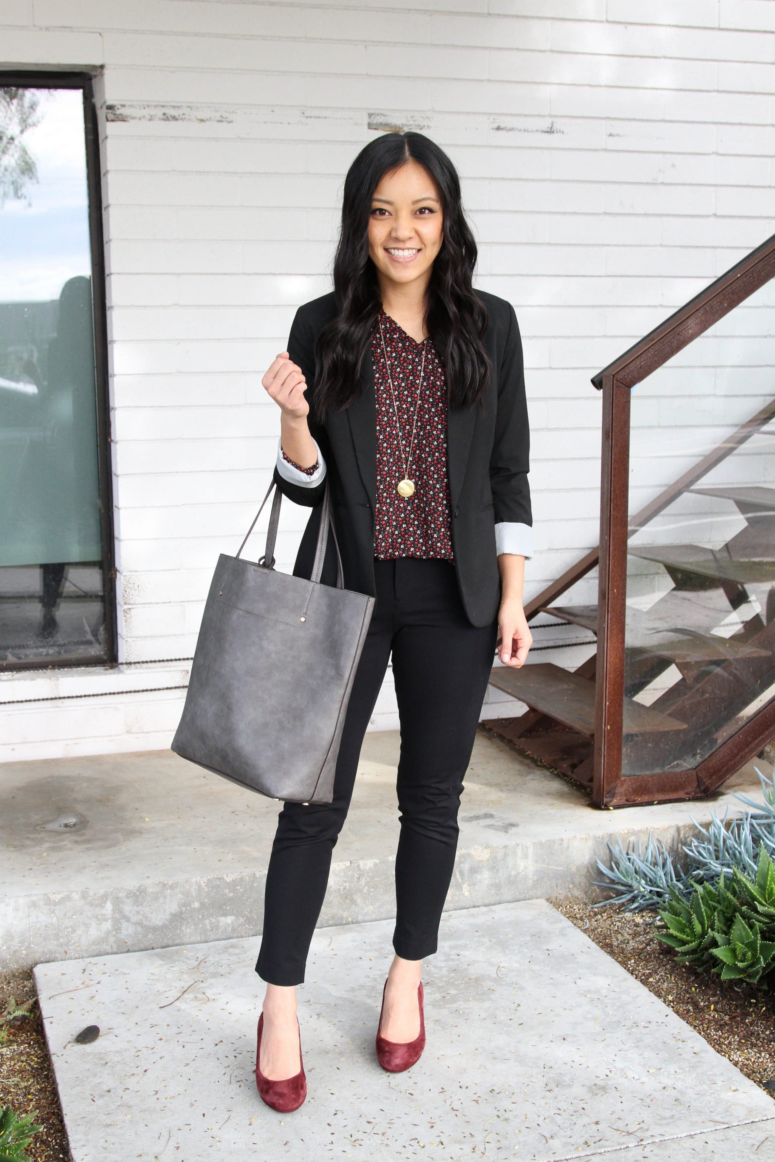 business casual outfit + black blazer + maroon printed top + black pants + maroon flats + grey tote