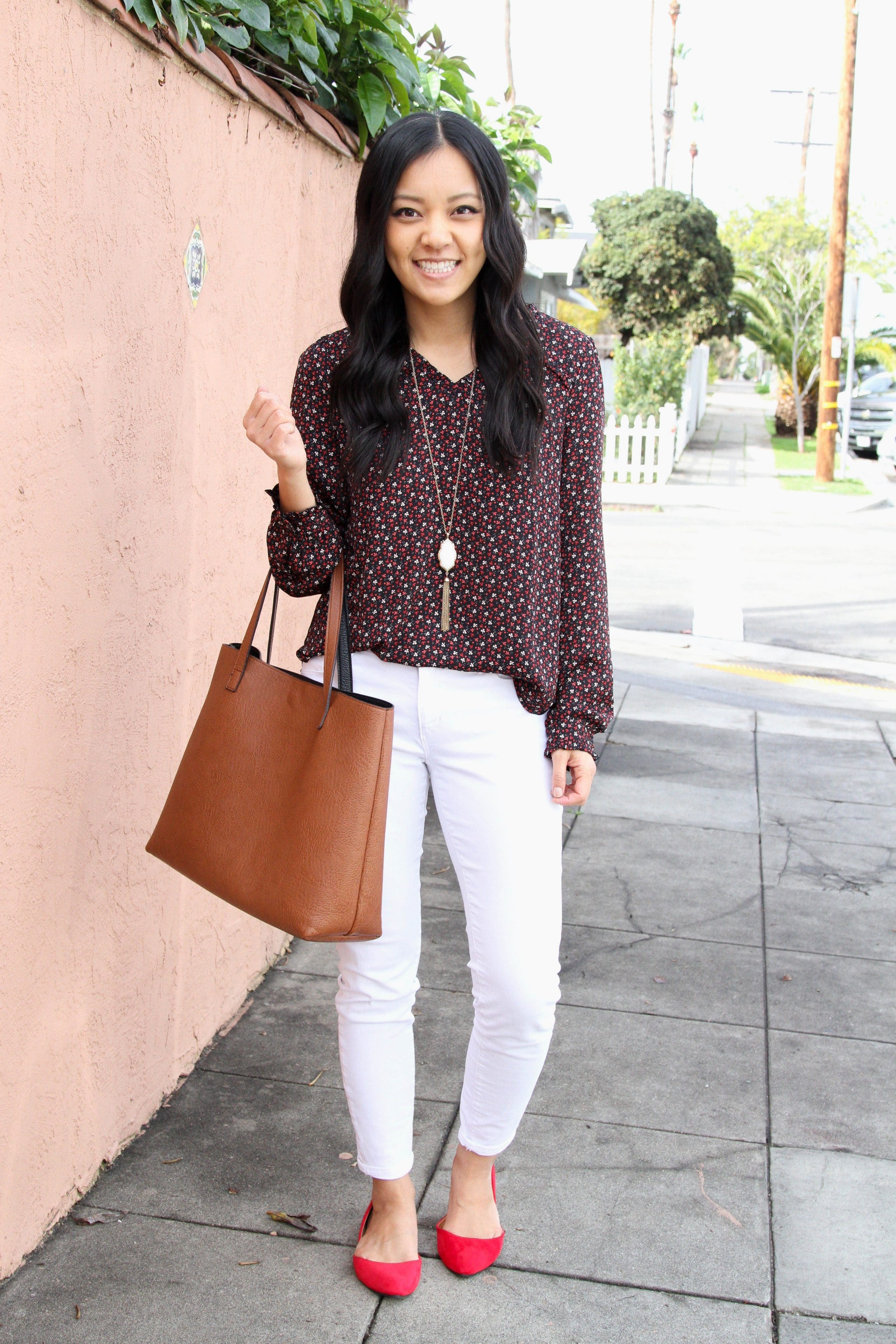 Floral Blouse + White Jeans + Tote + Red Flats + White Pendant
