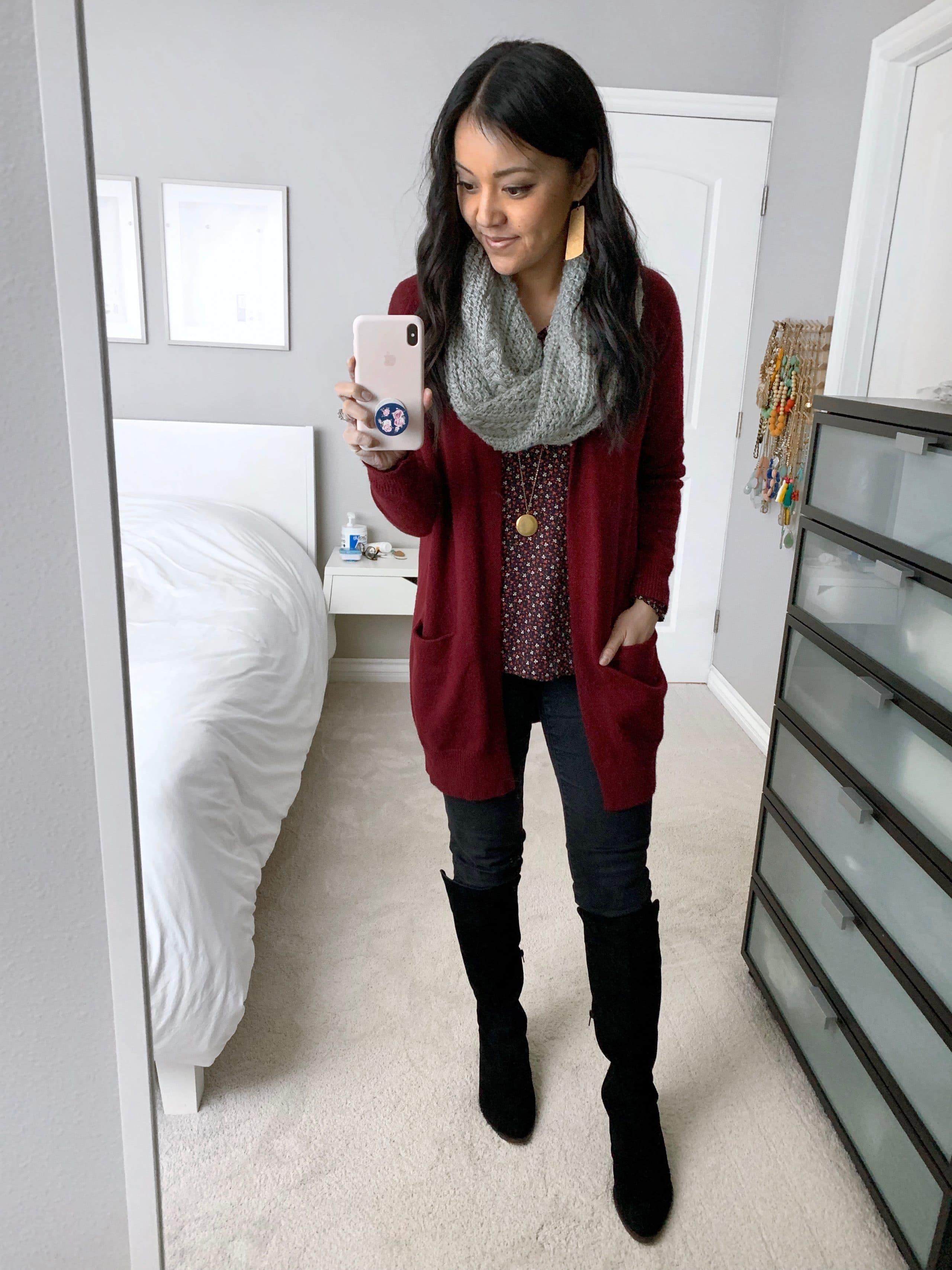 maroon cardigan + black jeans + black boots