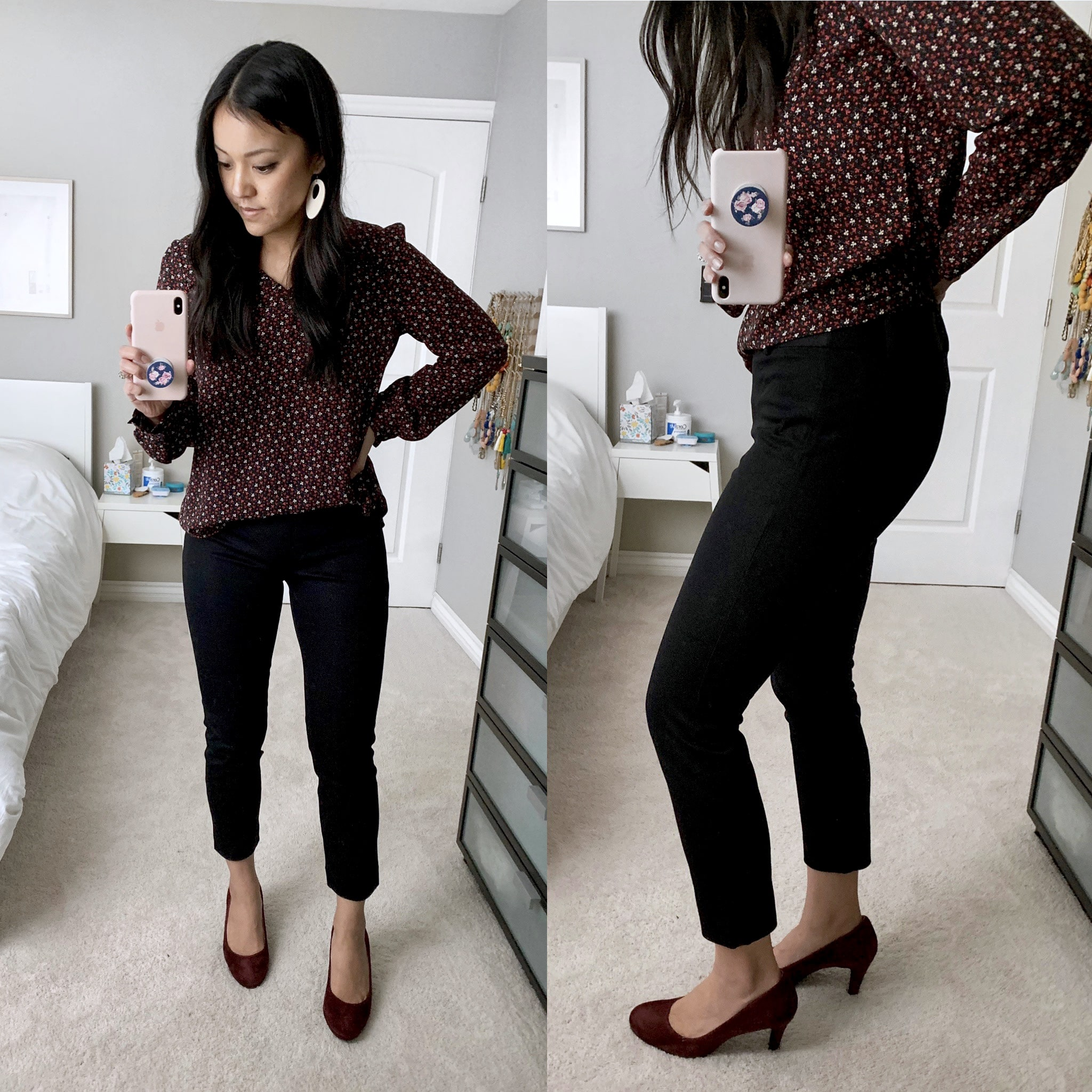 business casual outfit + Black Ankle Pants + Maroon Pumps + Maroon Shirt