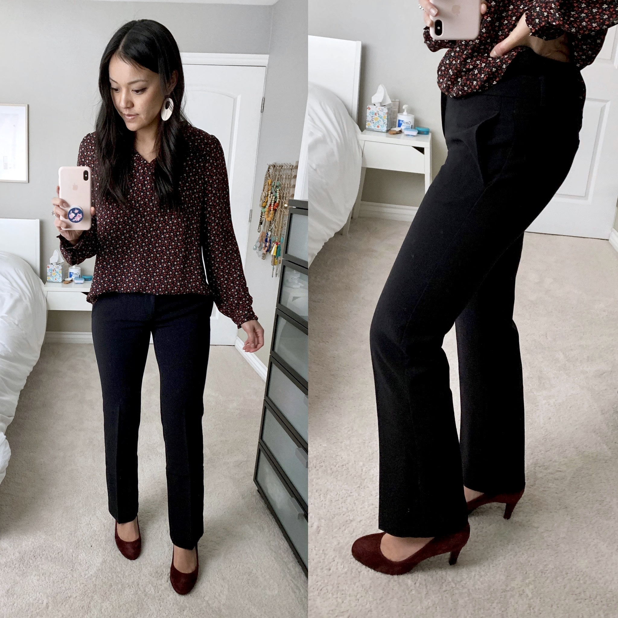 business casual outfit + Black Bootcut Pants + Maroon Heels + Dark Floral Shirt