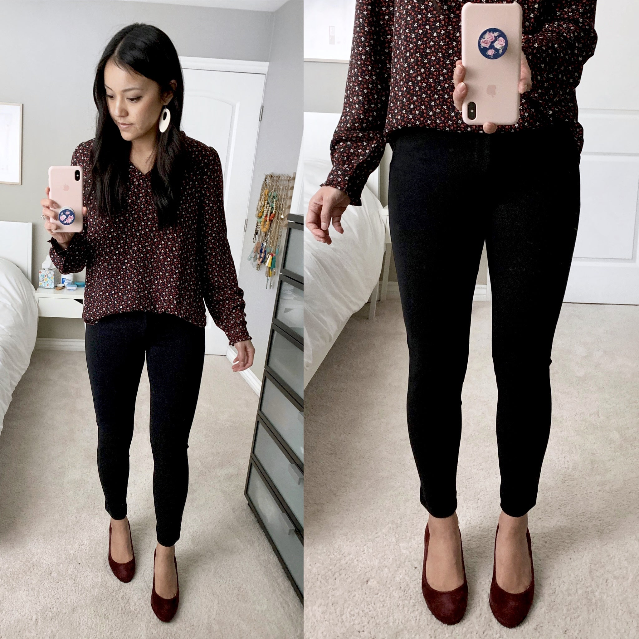 business casual outfit + Maroon Heels + Maroon Floral Shirt + Black Pants