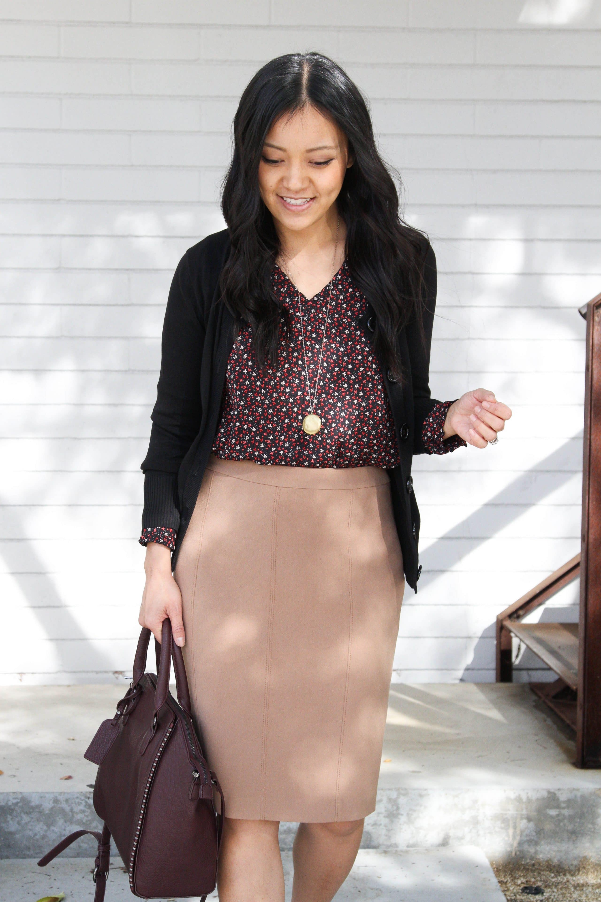 Black Cardigan + Floral Blouse + Tan Pencil Skirt + Maroon bag