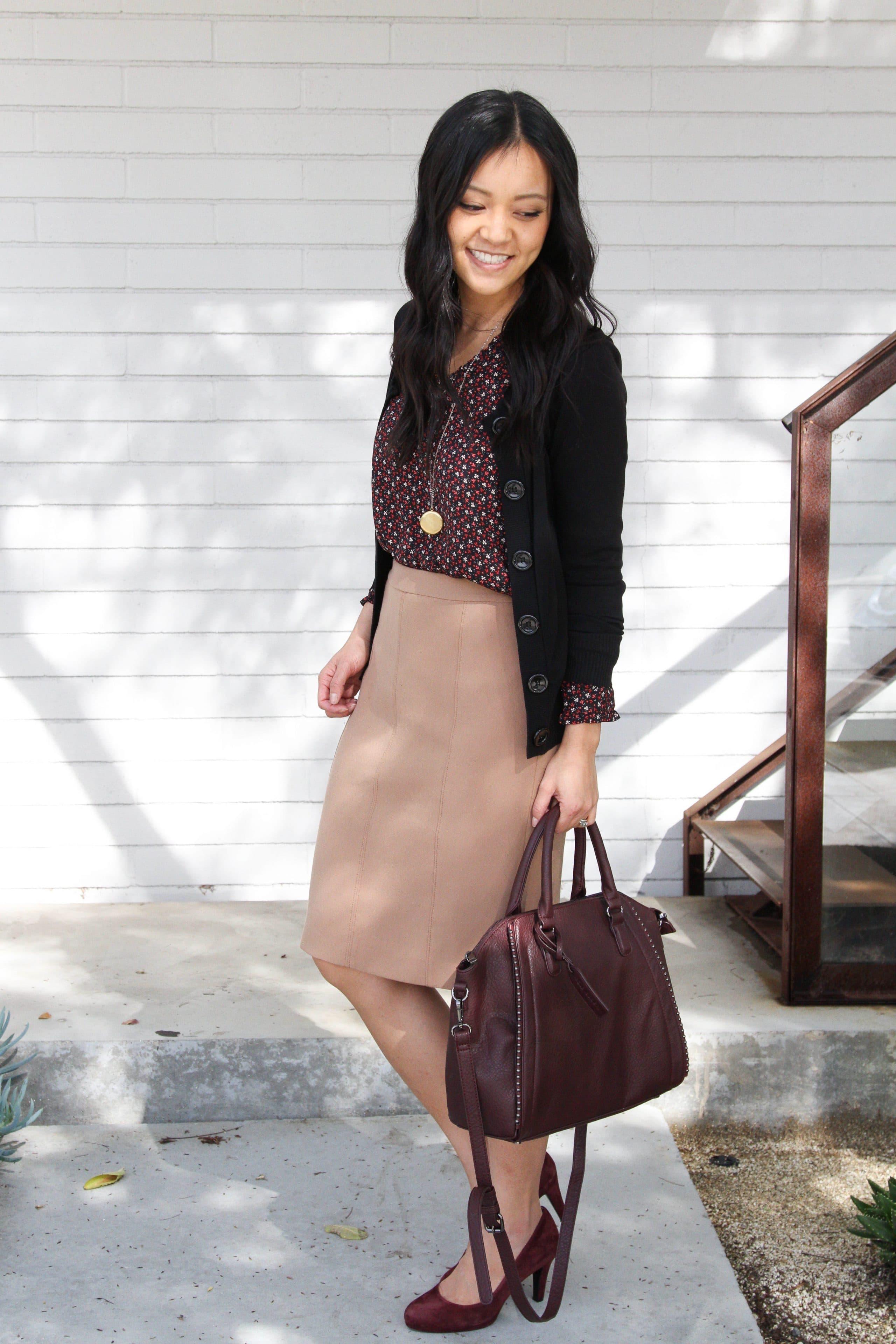 Tan Pencil Skirt + Maroon Pumps + Bag + Floral Top + Black Cardigan