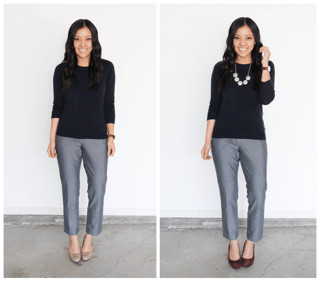 Plain to Polished Business Casual Navy Sweater Grey Pants
