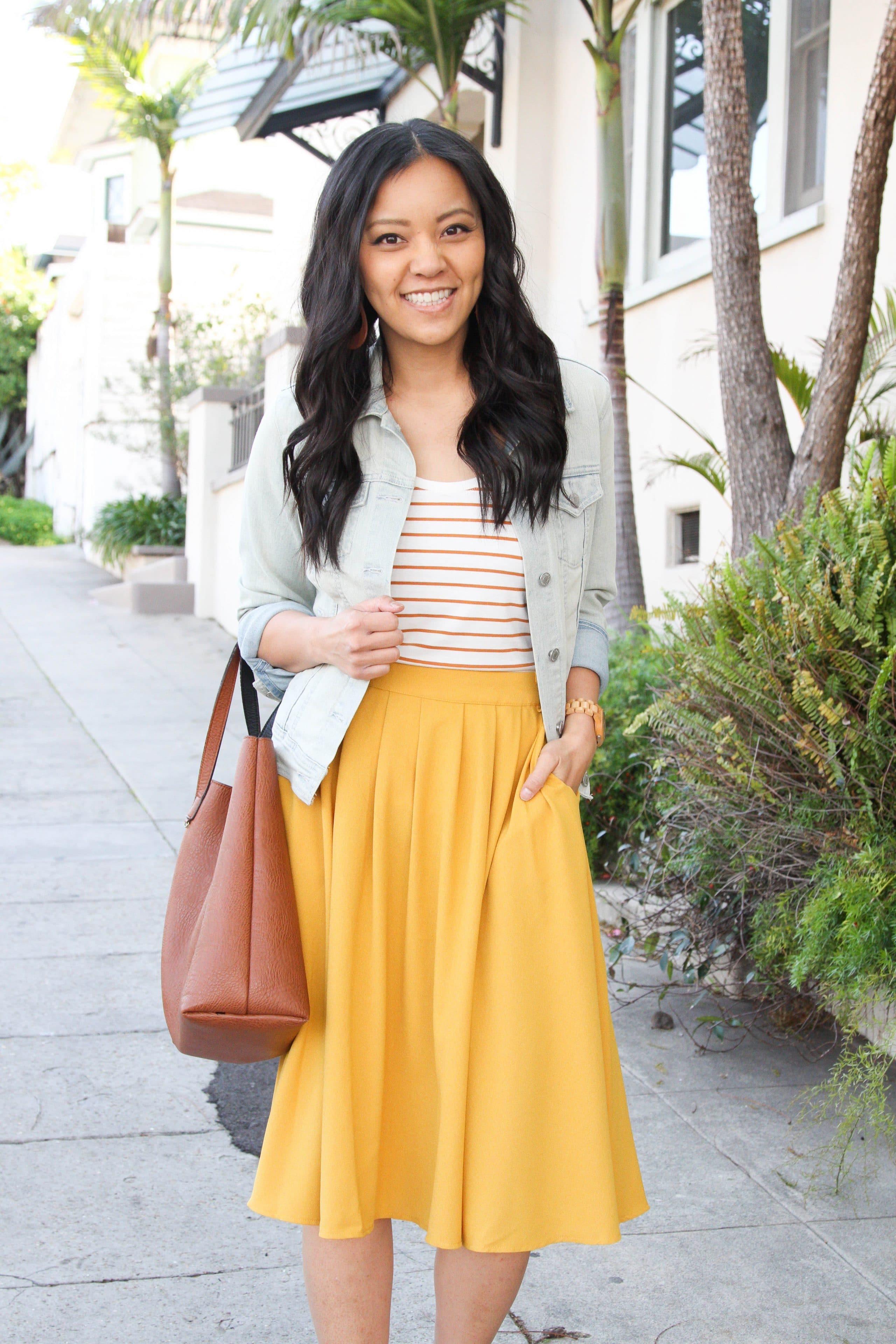 Yellow Midi Skirt + Striped tee + cognac bag + denim jacket