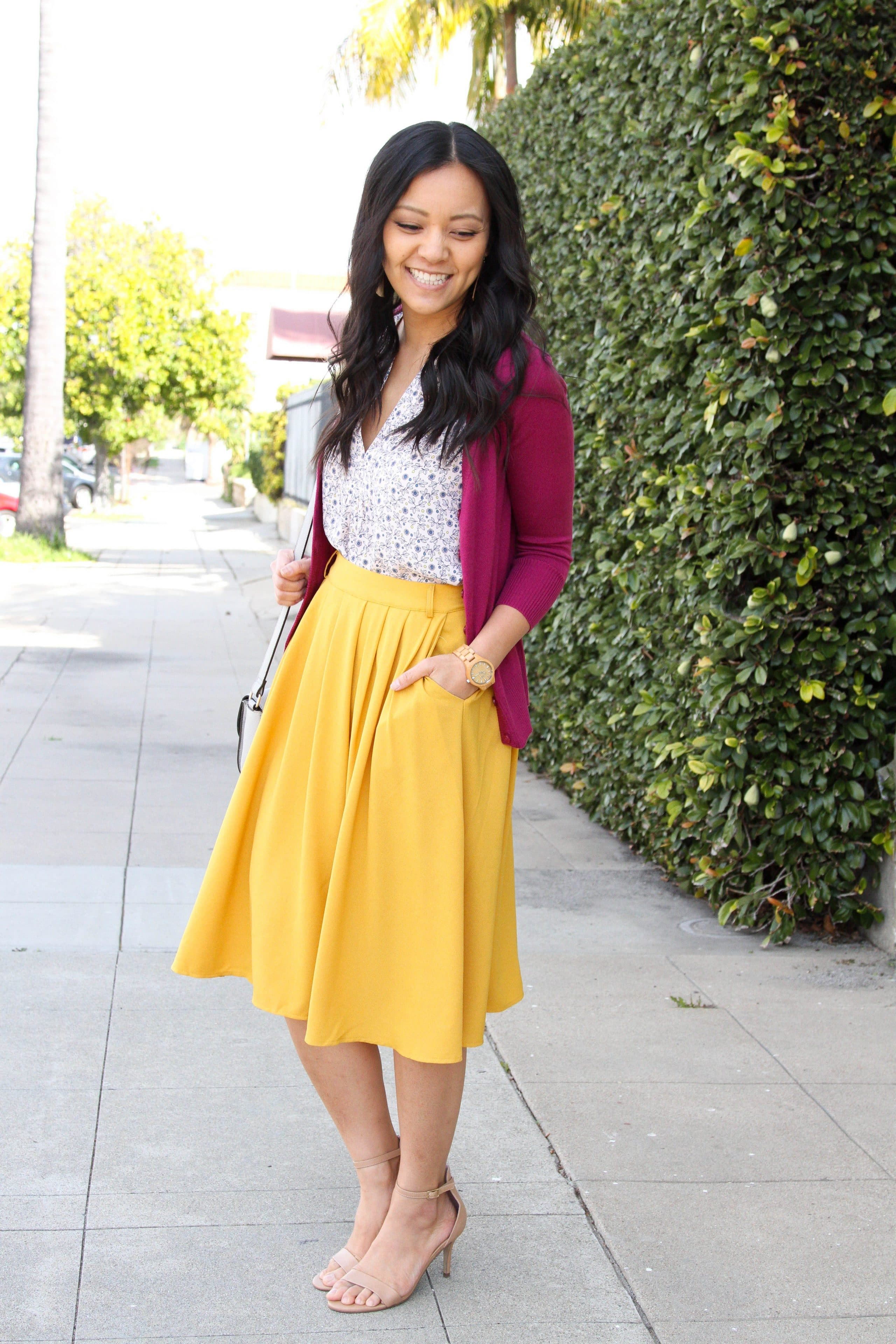 Yellow Skirt + Blush Floral top + Maroon Cardigan + white bag + nude sandals