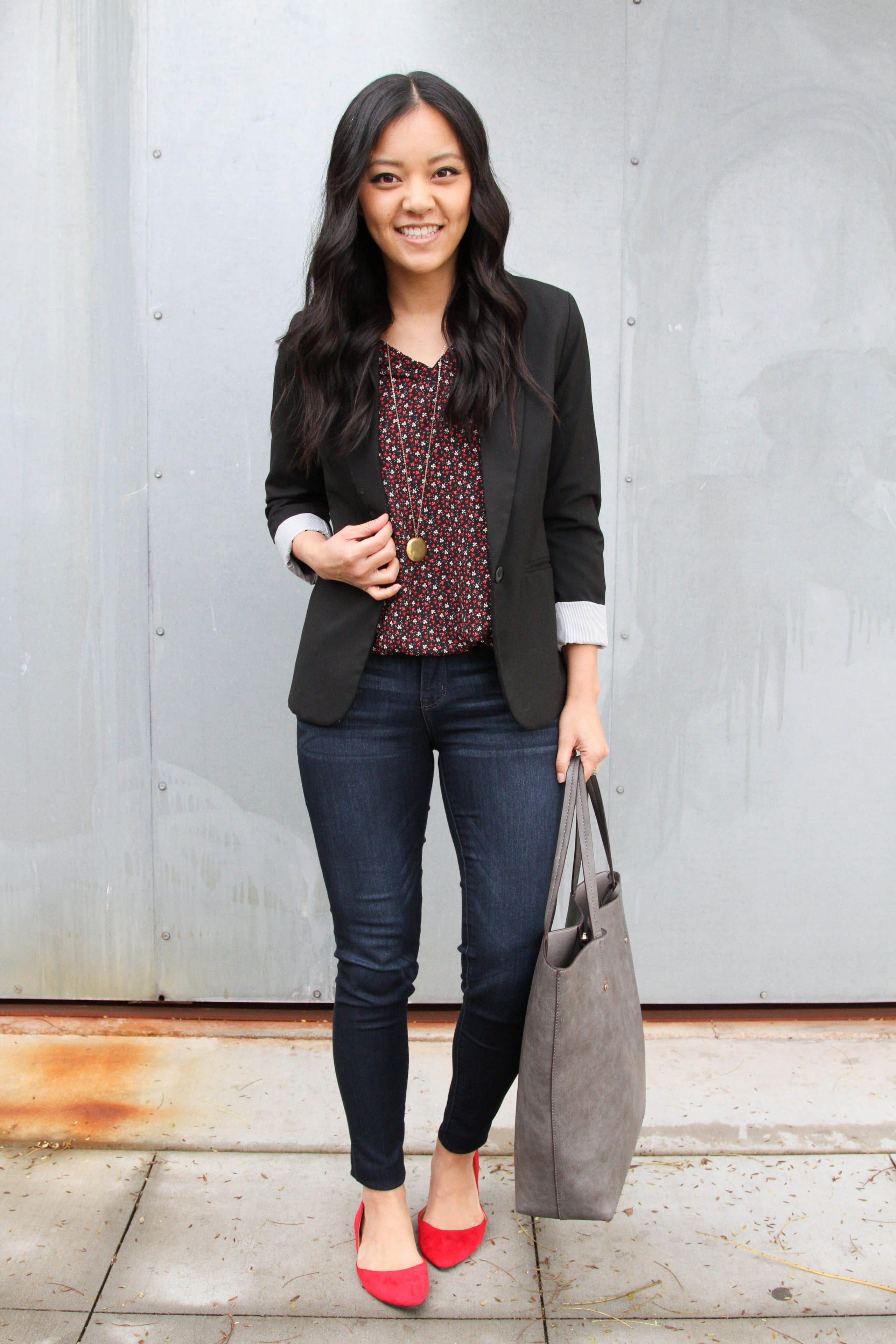 Blazer + Jeans + Red Flats + Tote + Pendant