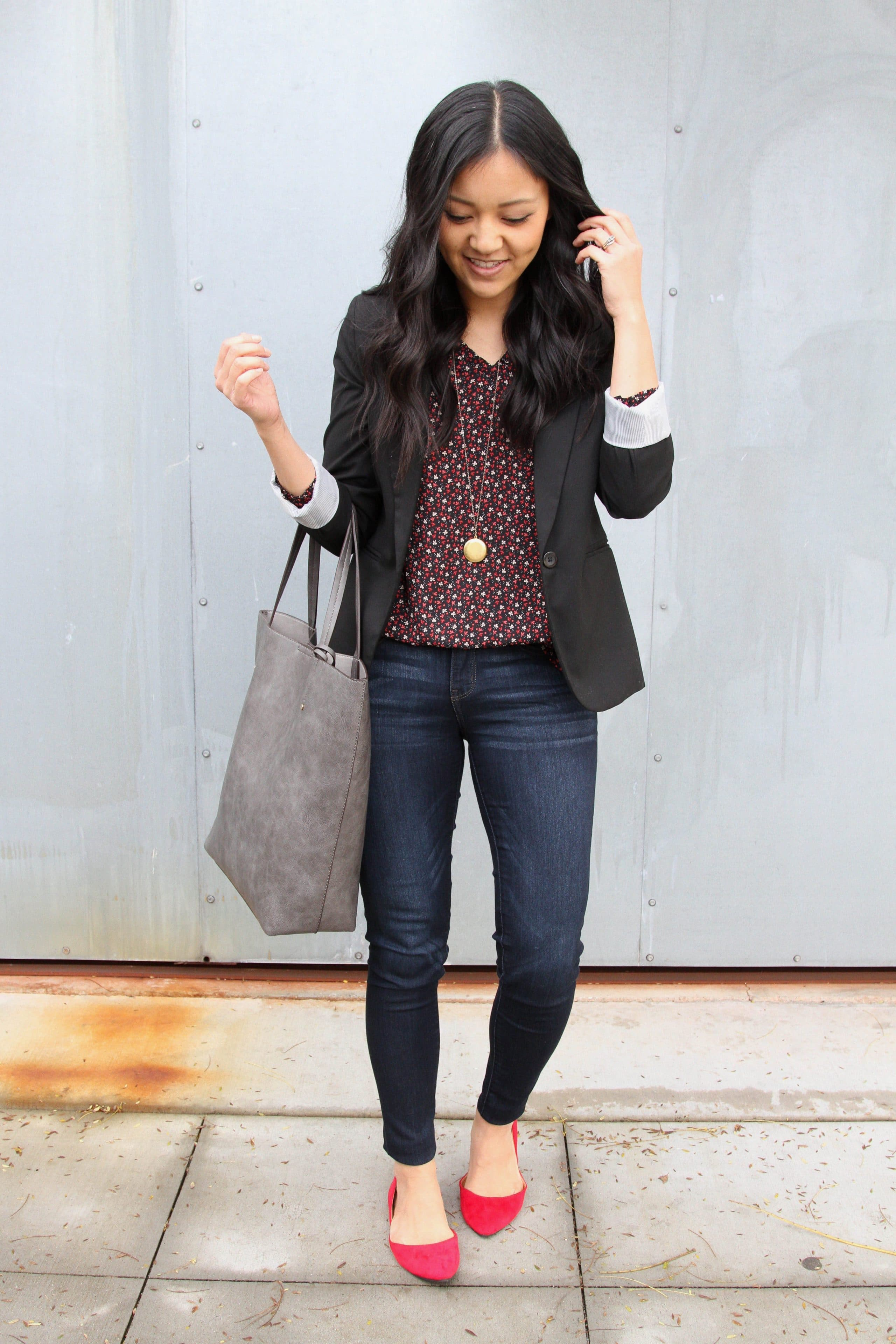 Blazer + Skinnies + Red Flats + Grey Tote + Gold Pendant