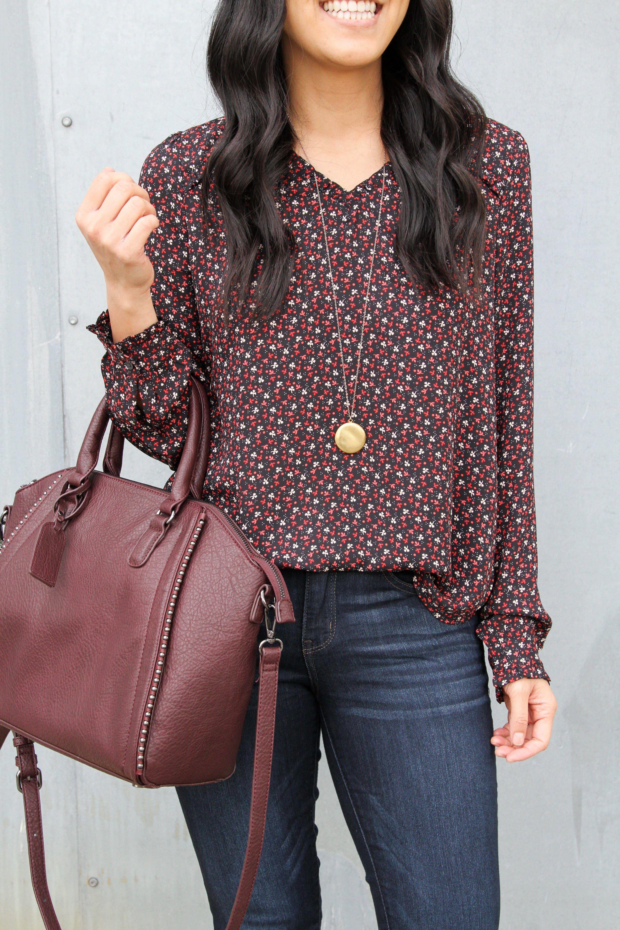 Floral loft top closeup + maroon bag