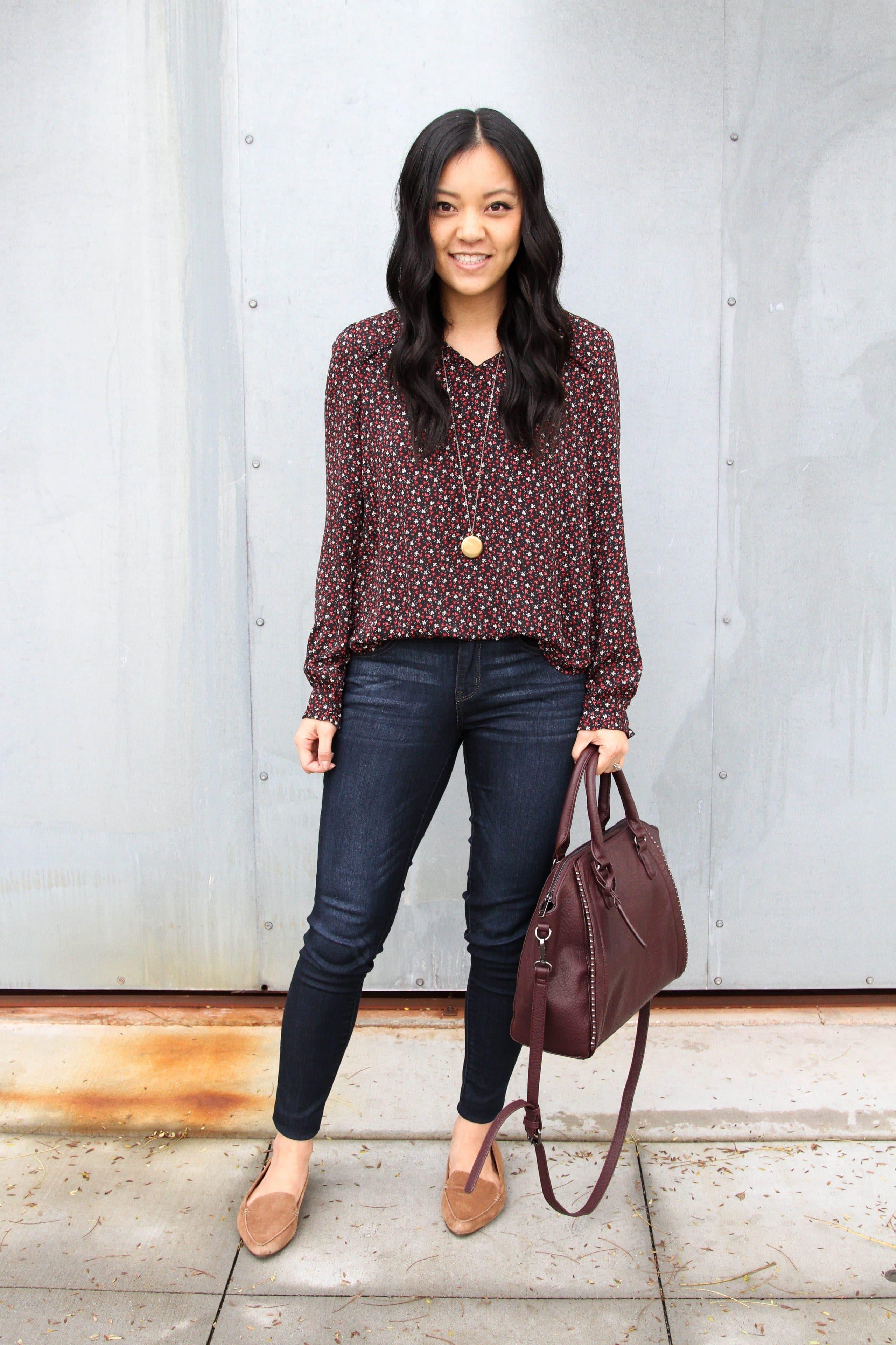 Loft blouse + Skinnies + Loafers + purple bag