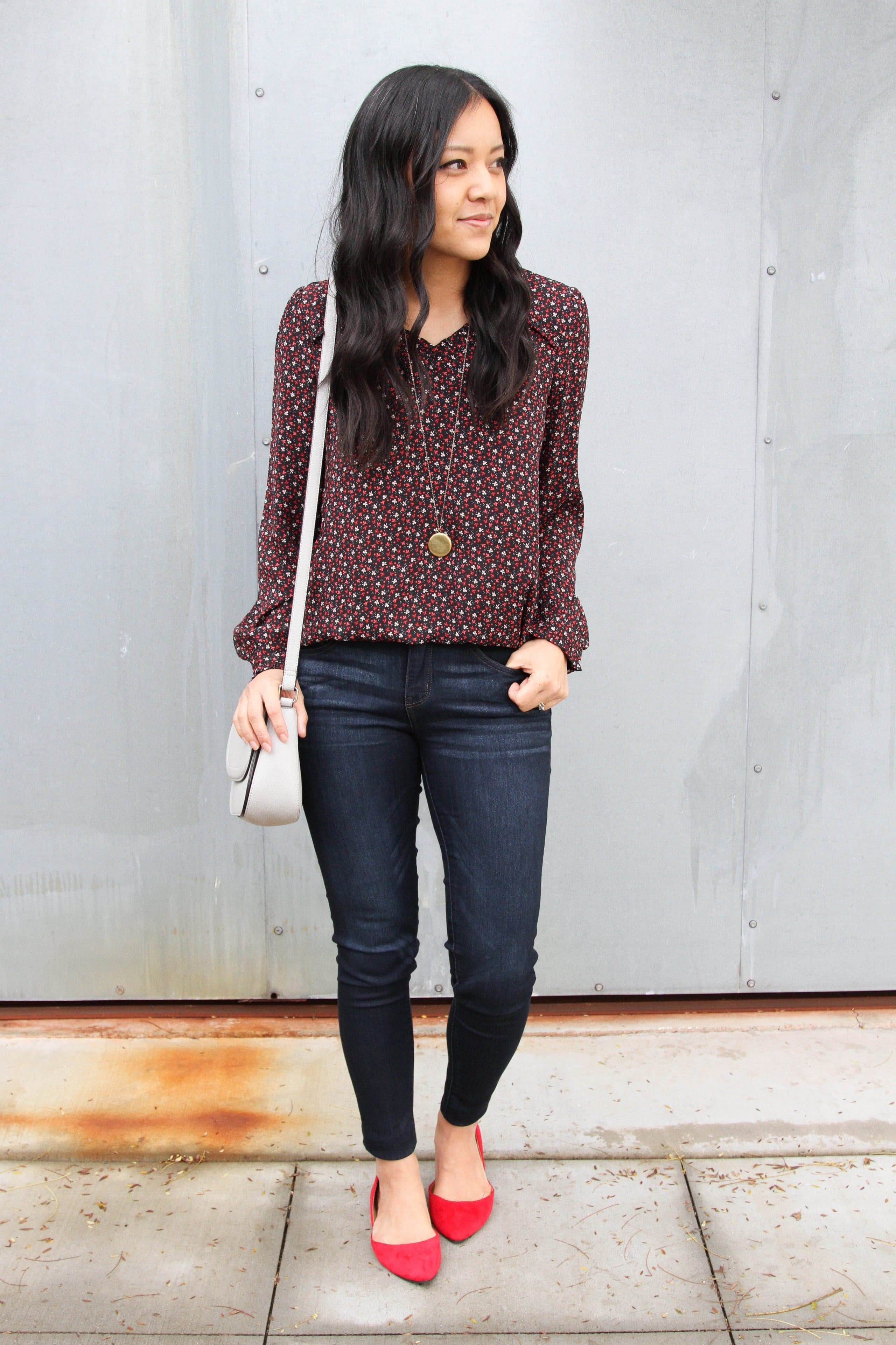 Floral Blouse + Skinnies + red flats + pendant + grey purse