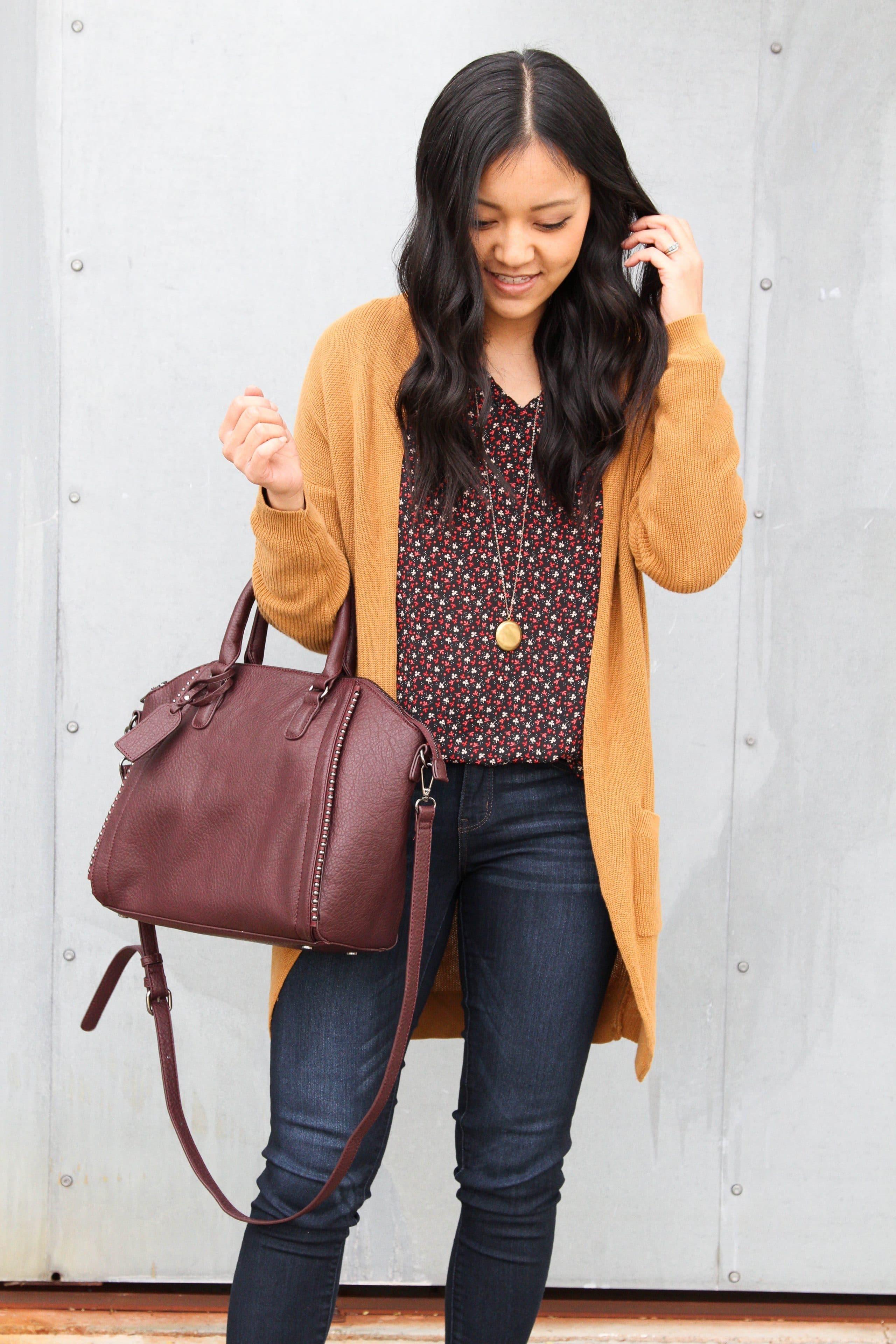 Floral blouse + Tan Cardigan + Maroon Bag + Gold Pendant