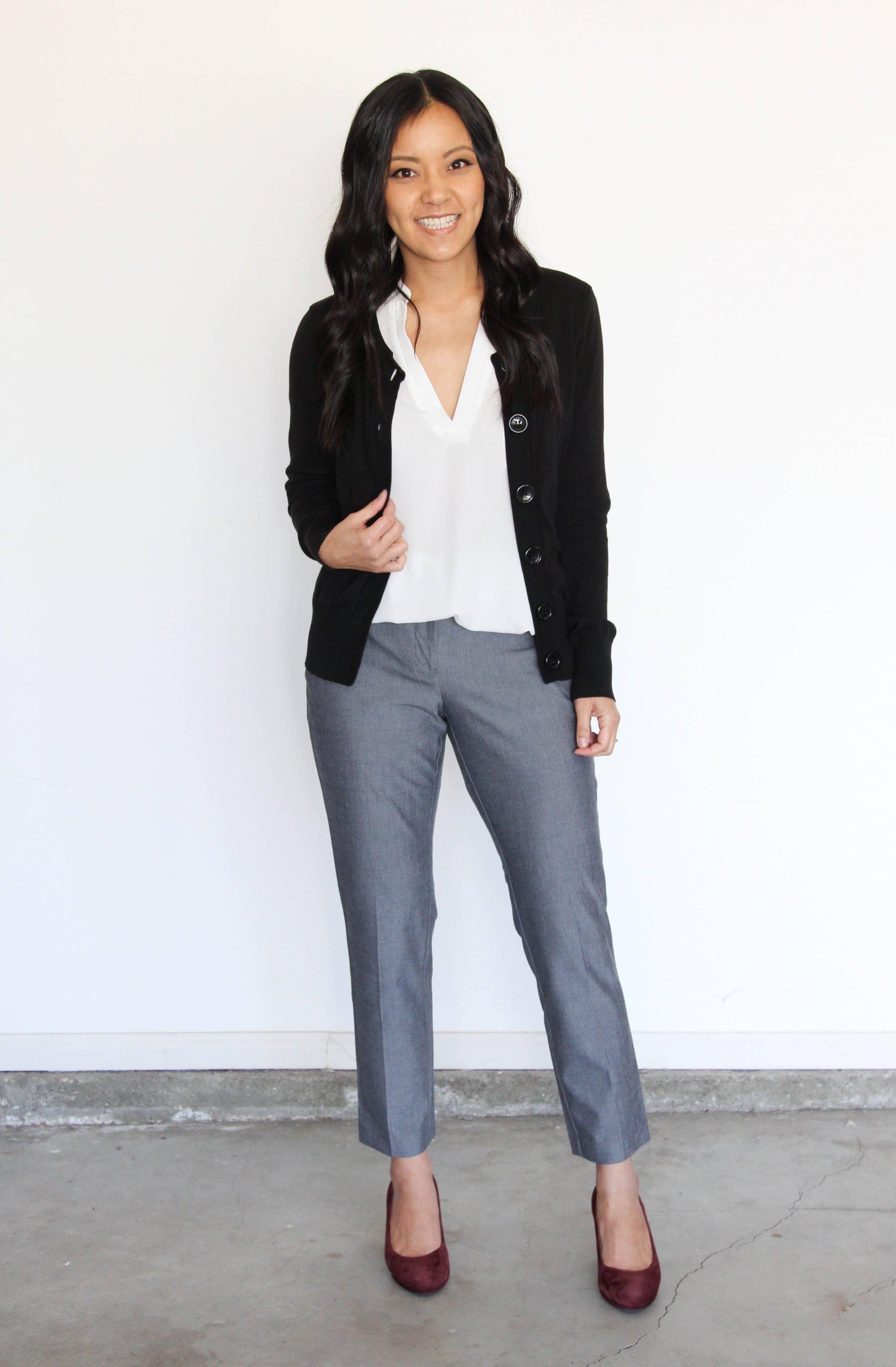 Black Cardigan + White Lush Top + Gray Pants + Maroon Pumps