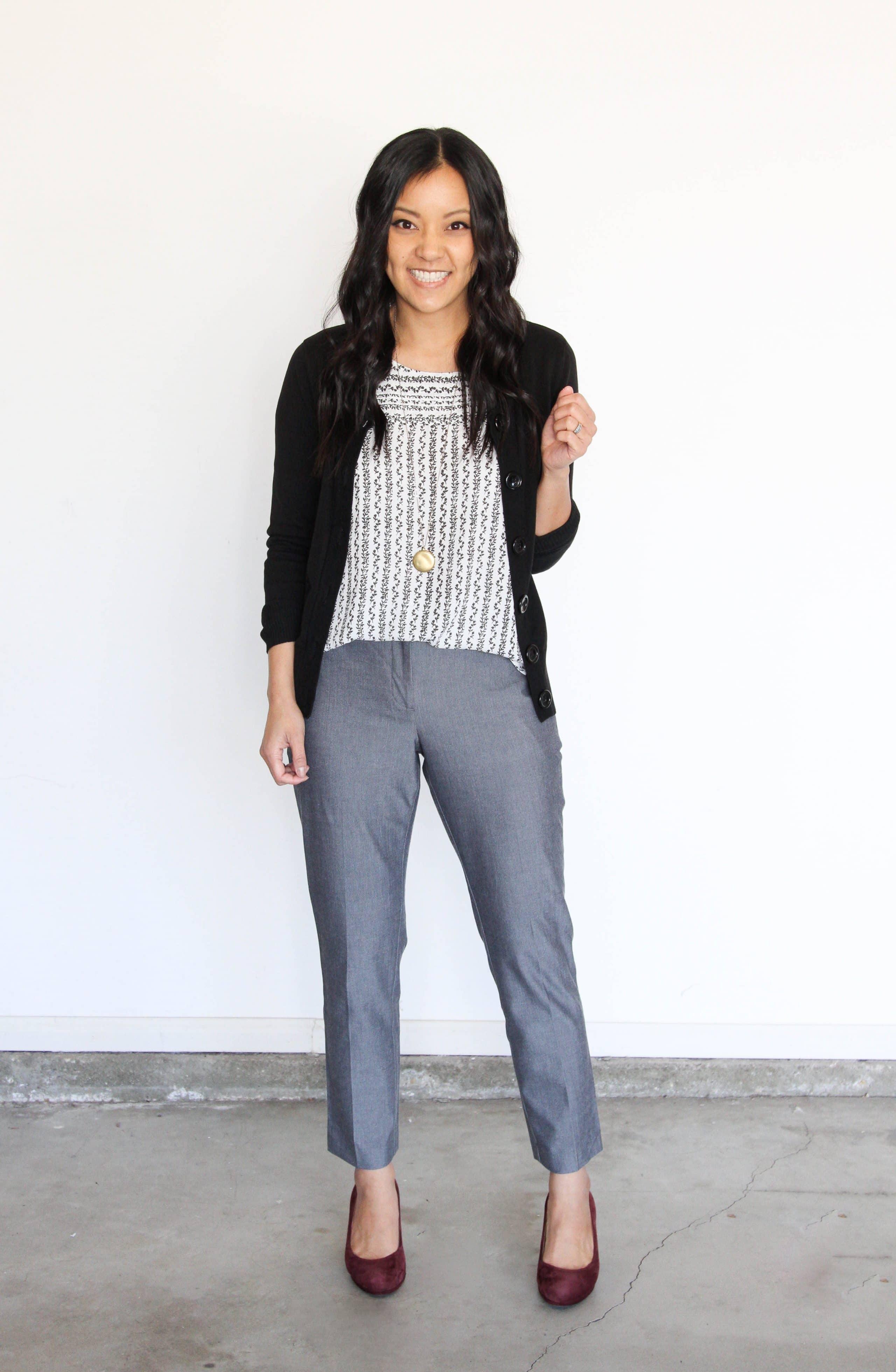 Business Casual: Printed Top + Black Cardigan + Grey Pants + Maroon Pants