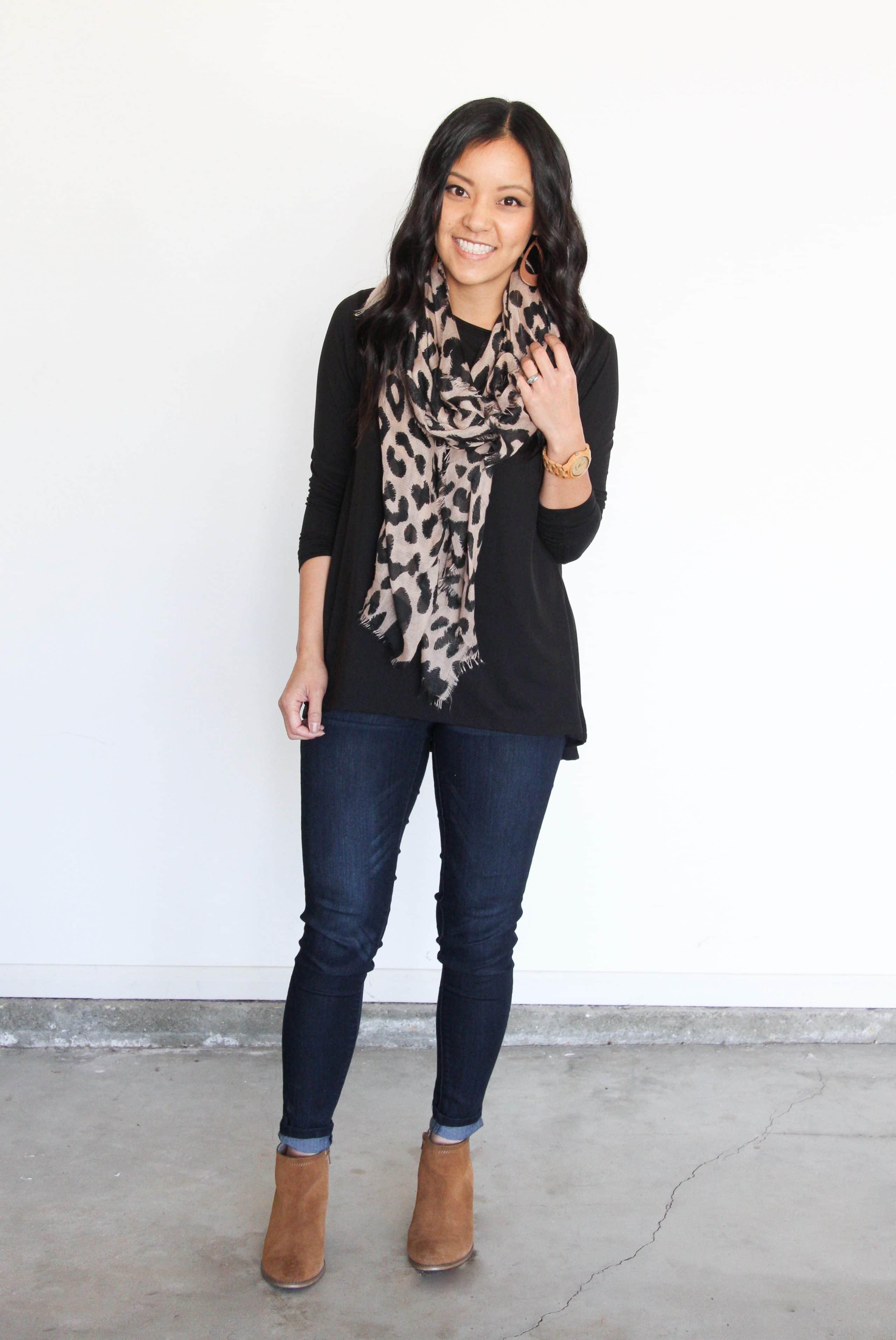 Black Top + Leopard Scarf + Cognac Boots + Jeans