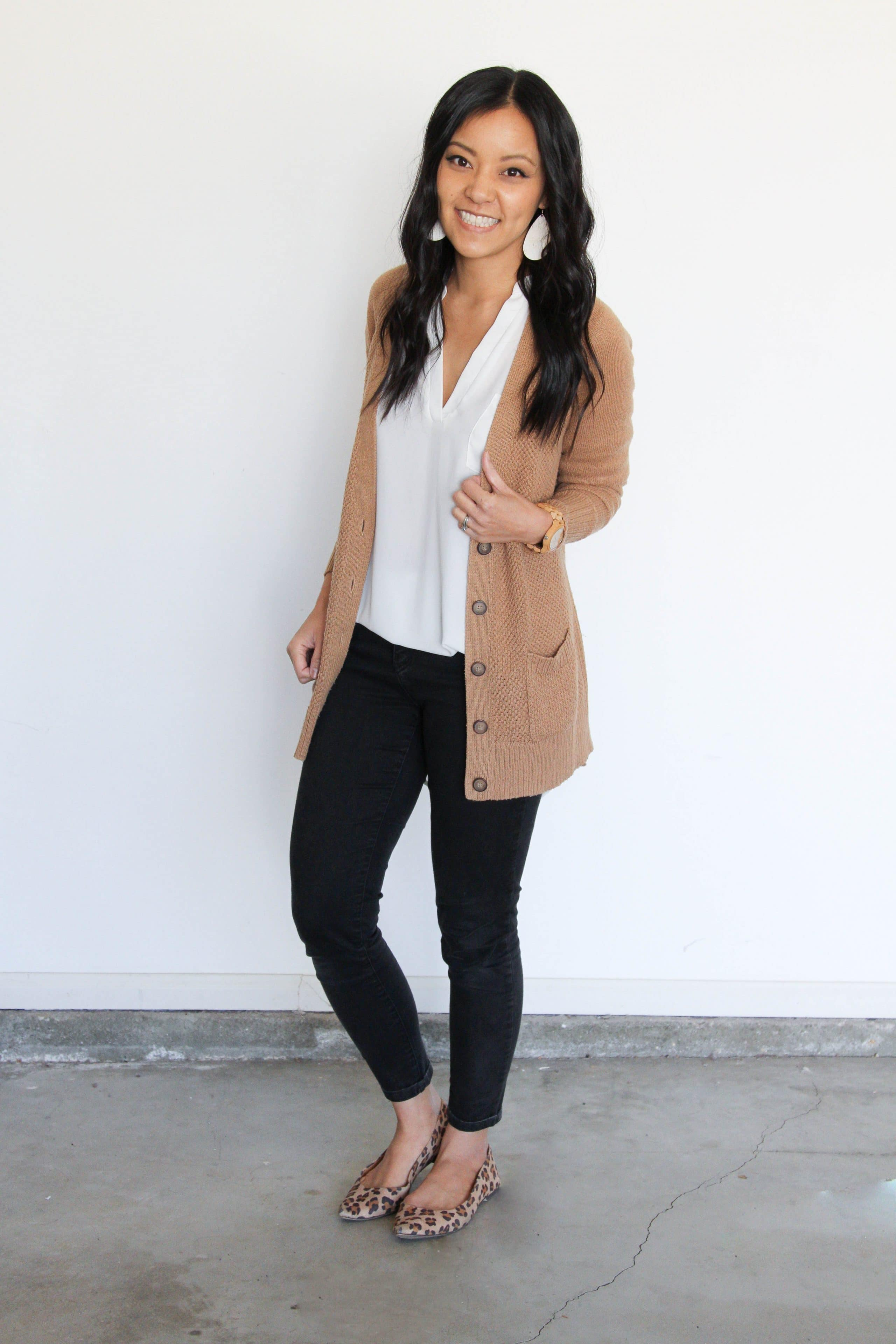 Camel Cardigan + White Lush Top + Black Jeans + Leopard Flats