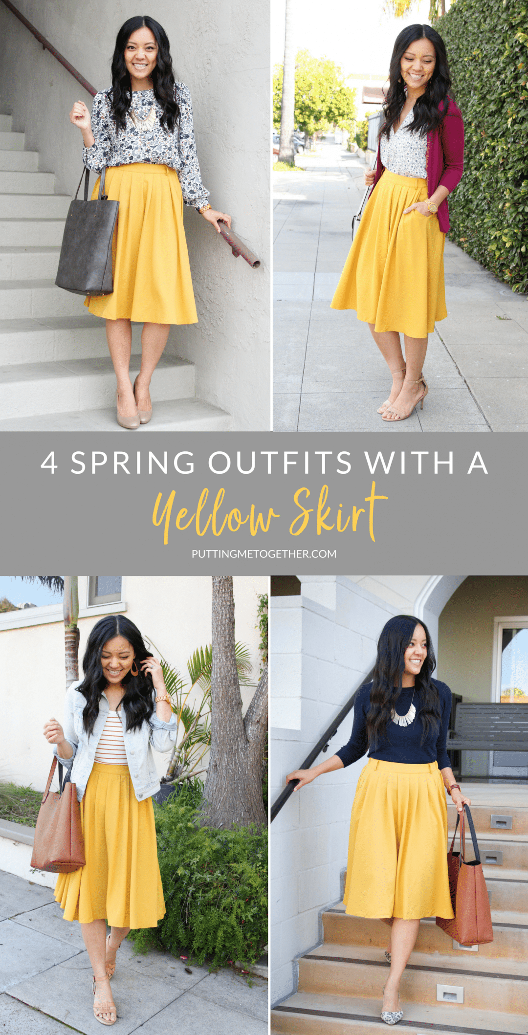 Four Outfits With a Yellow Skirt