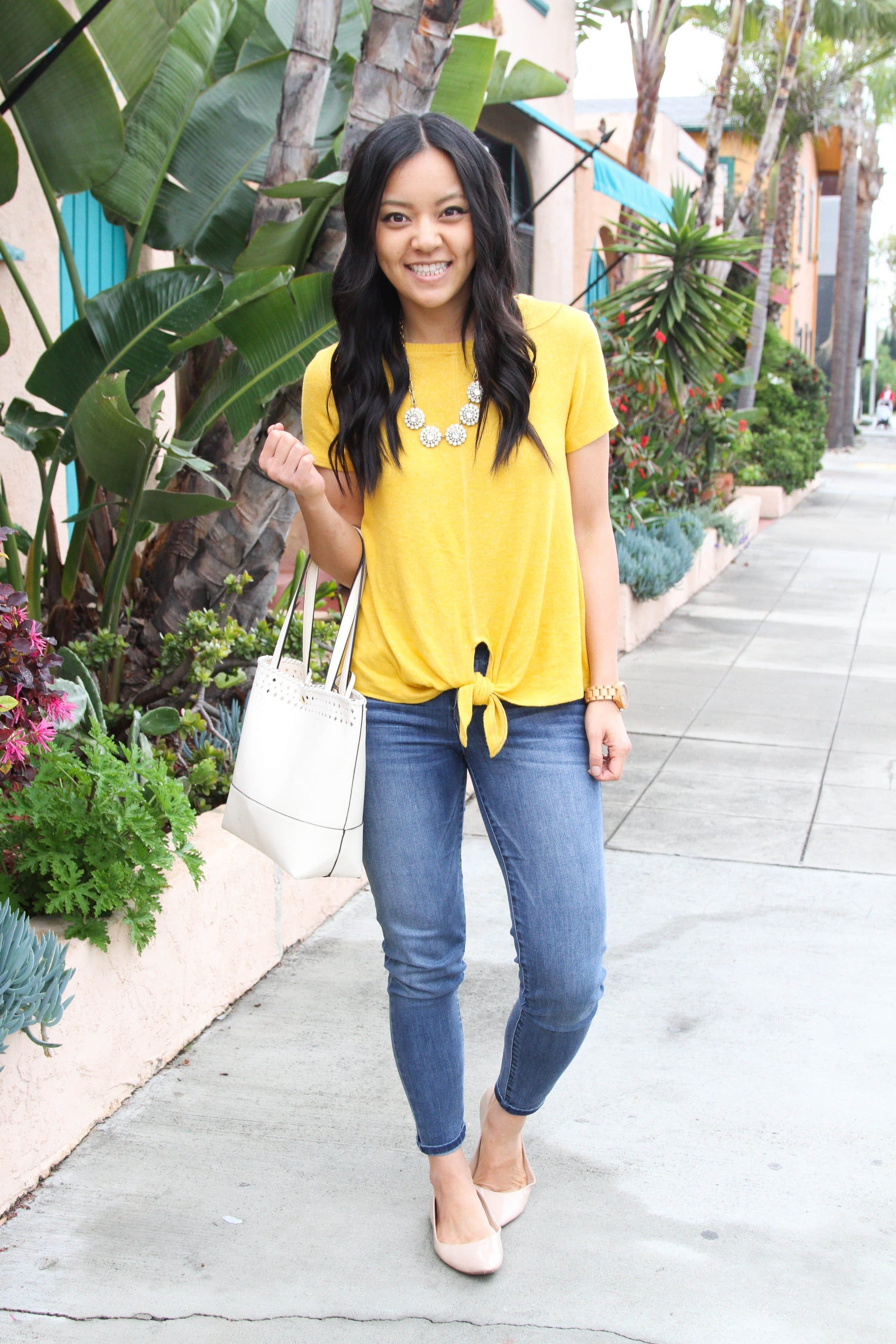 Light jeans + Yellow tie top + Statement necklace + White Tote