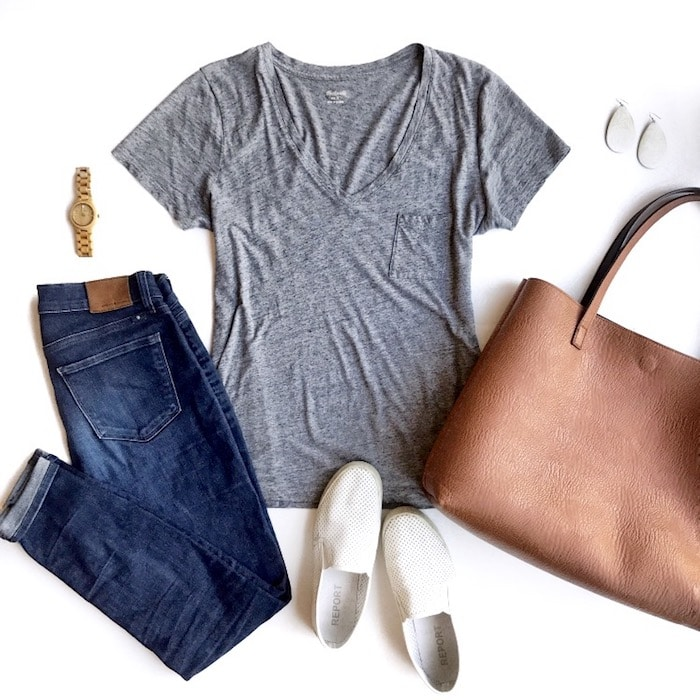 grey tee jeans white sneakers travel outfit