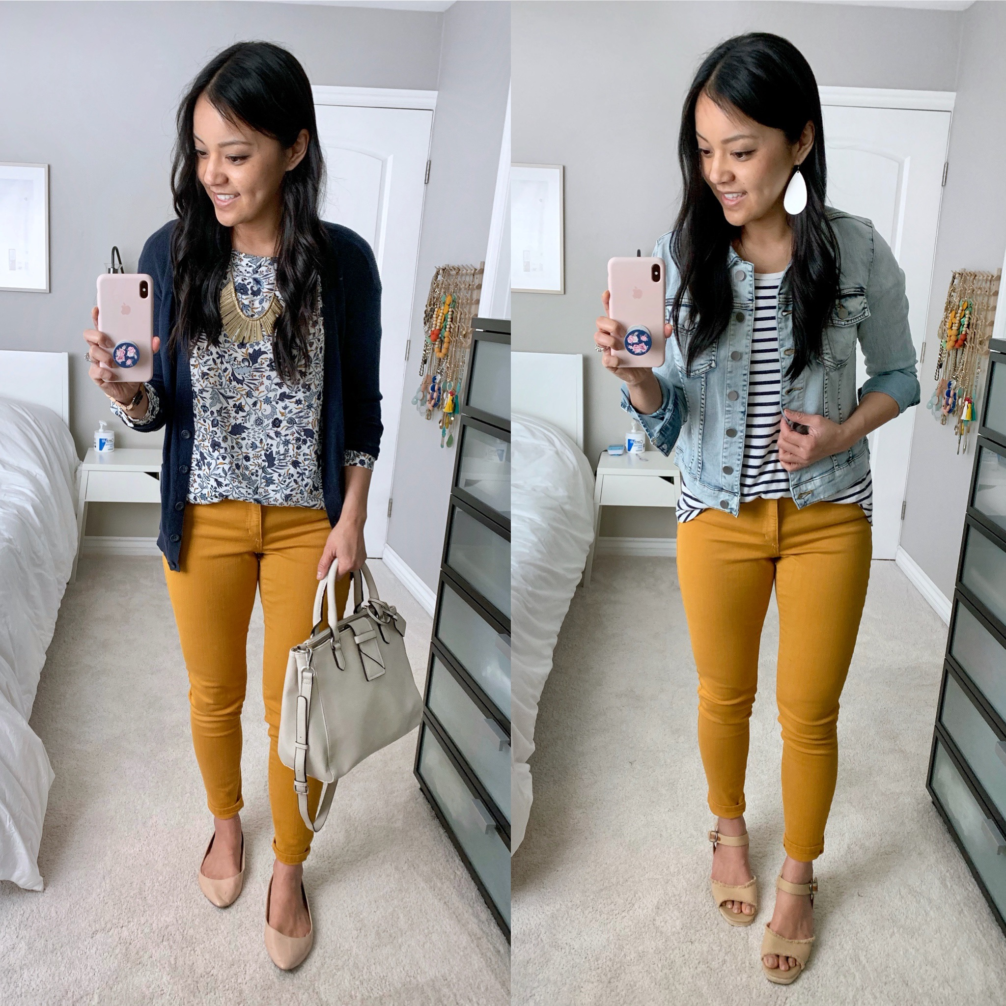 outfits with mustard yellow jeans: floral print top + navy cardigan, striped tee + denim jacket