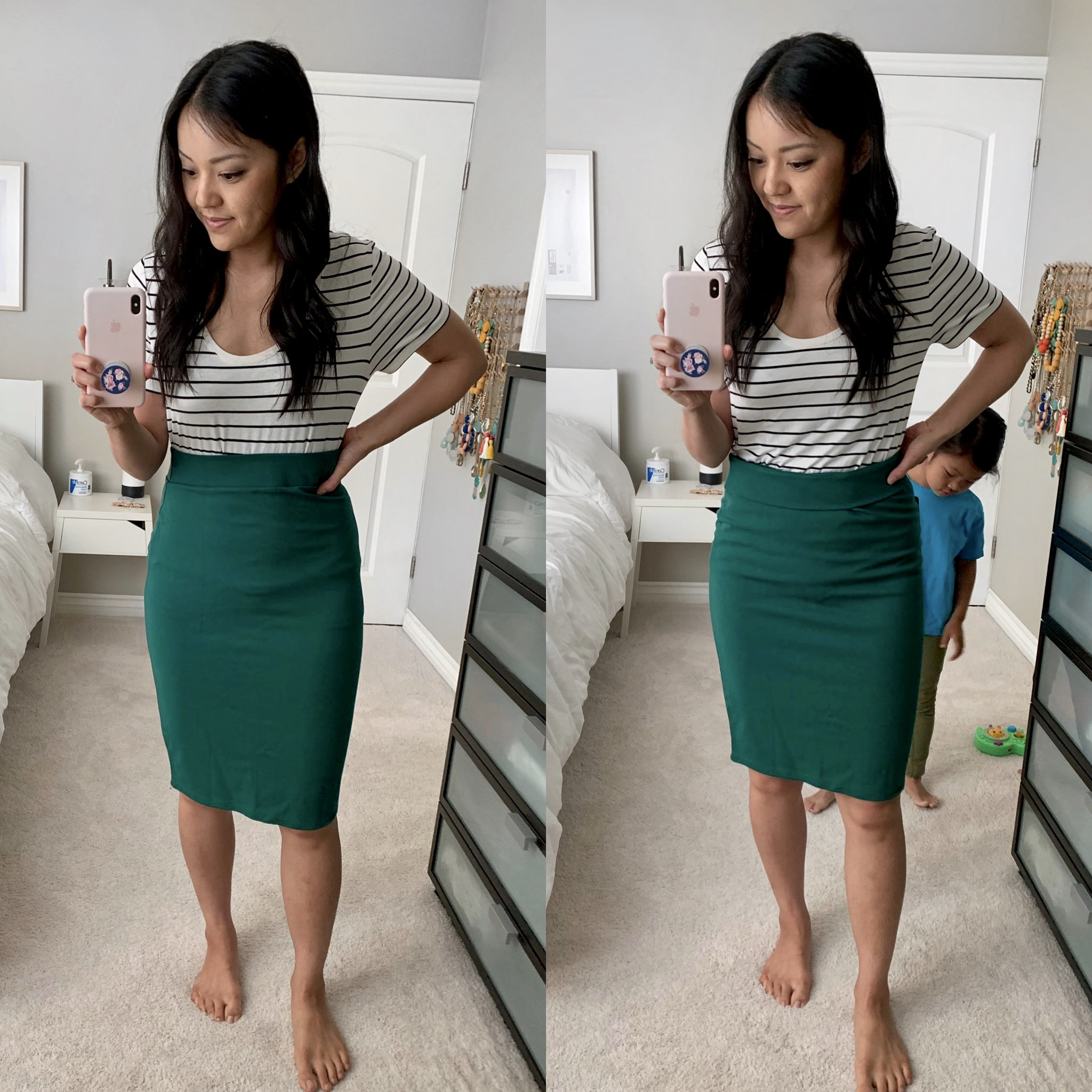 green pencil skirt + striped tee