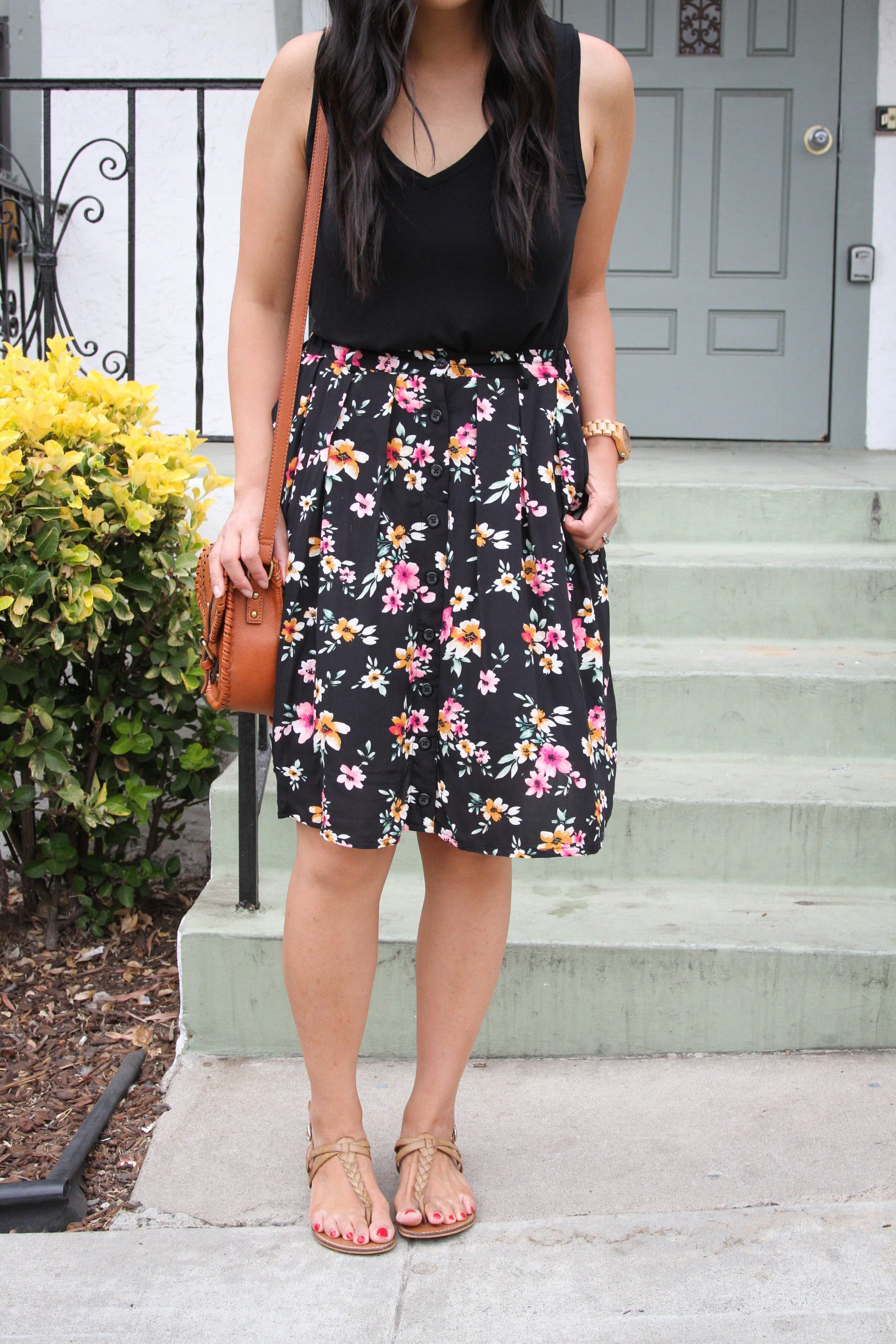 black floral skirt + black tank top + tan braided sandals