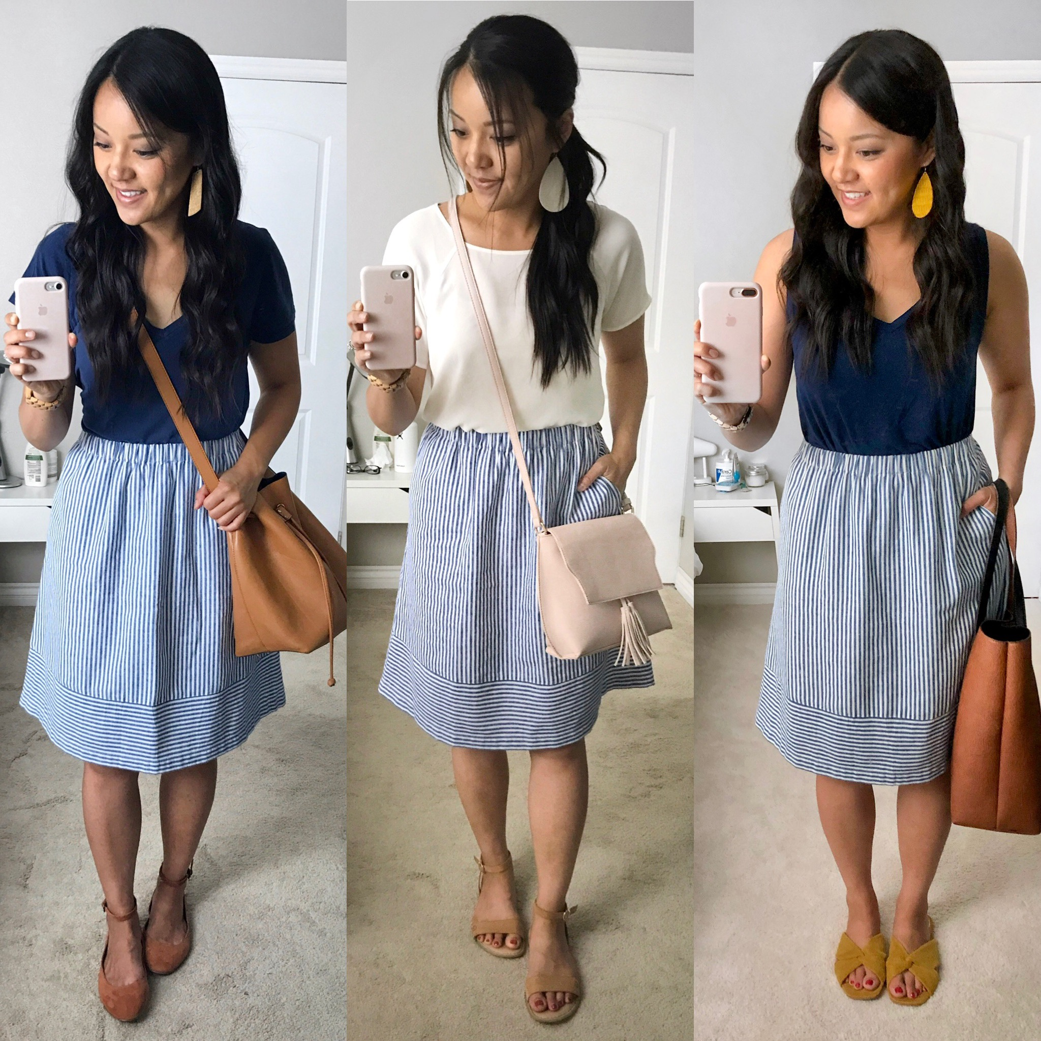Blue striped skirt outfits for spring and summer style